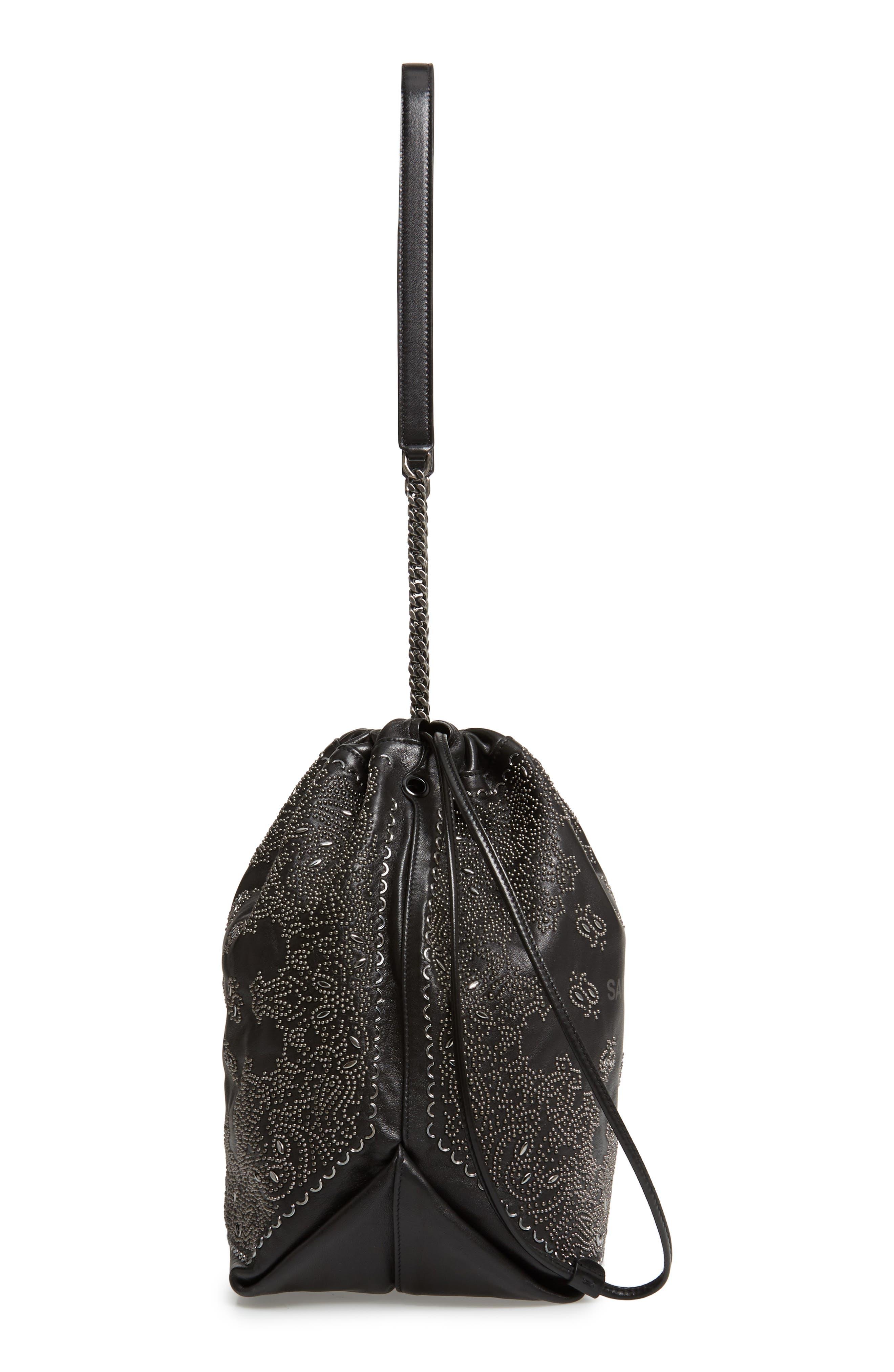 Teddy Bandana Studded Leather Bucket Bag,                             Alternate thumbnail 5, color,                             NOIR