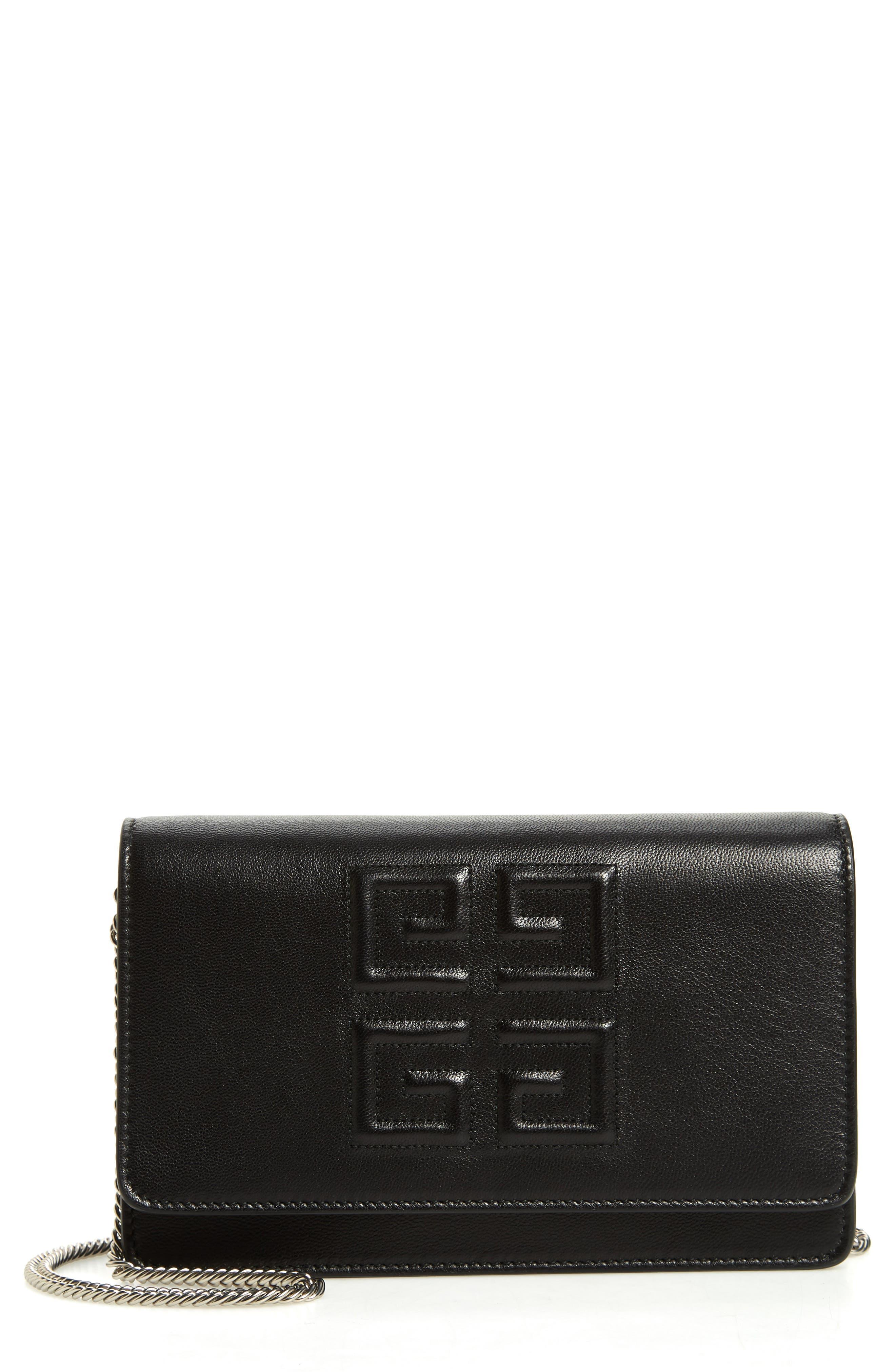 Emblem Lambskin Leather Crossbody Bag,                         Main,                         color, BLACK