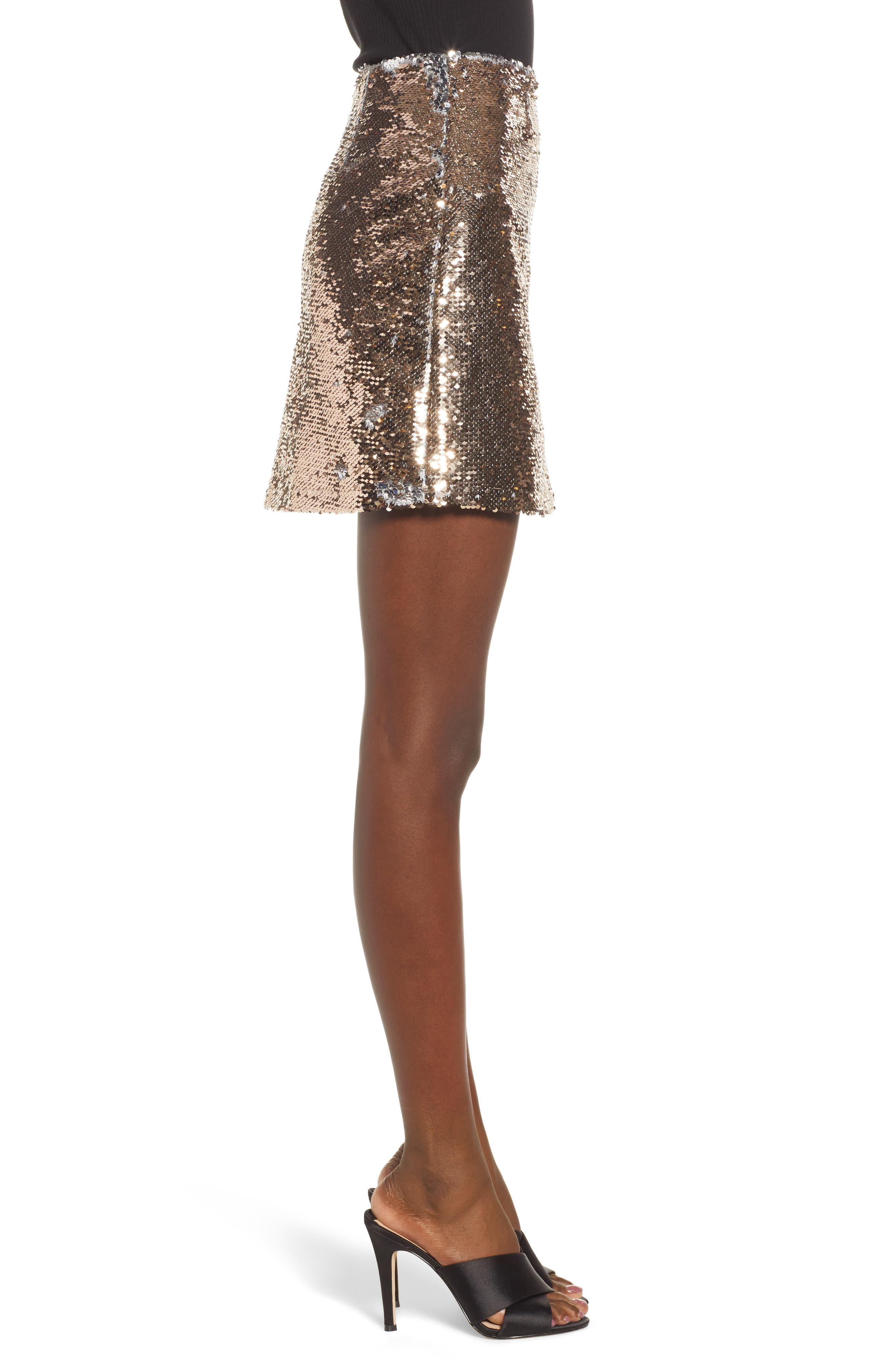 Sequin Miniskirt,                             Alternate thumbnail 3, color,                             ROSE