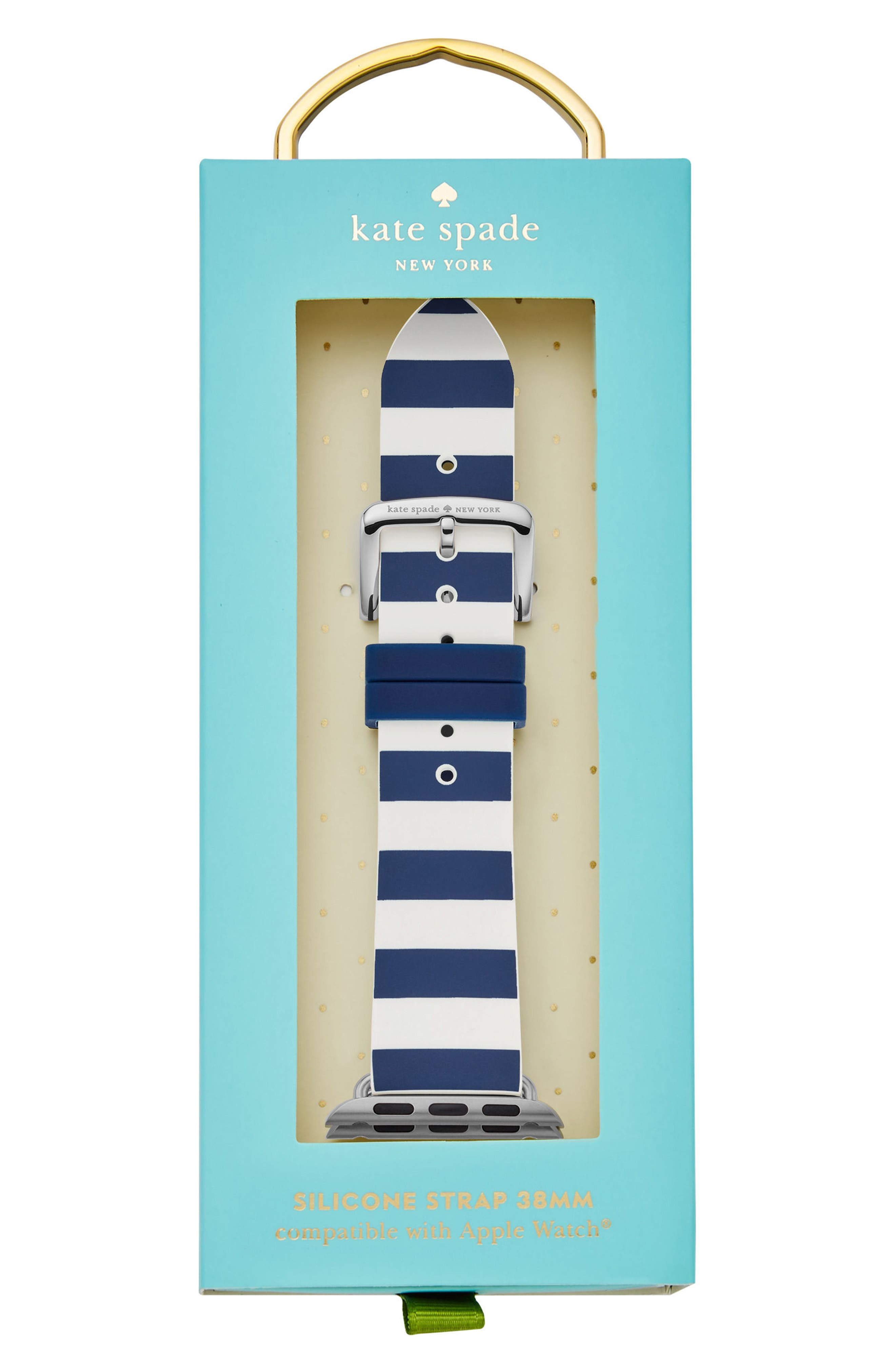 Apple<sup>®</sup> watch silicone strap, 25mm,                             Alternate thumbnail 2, color,                             BLUE/ WHITE