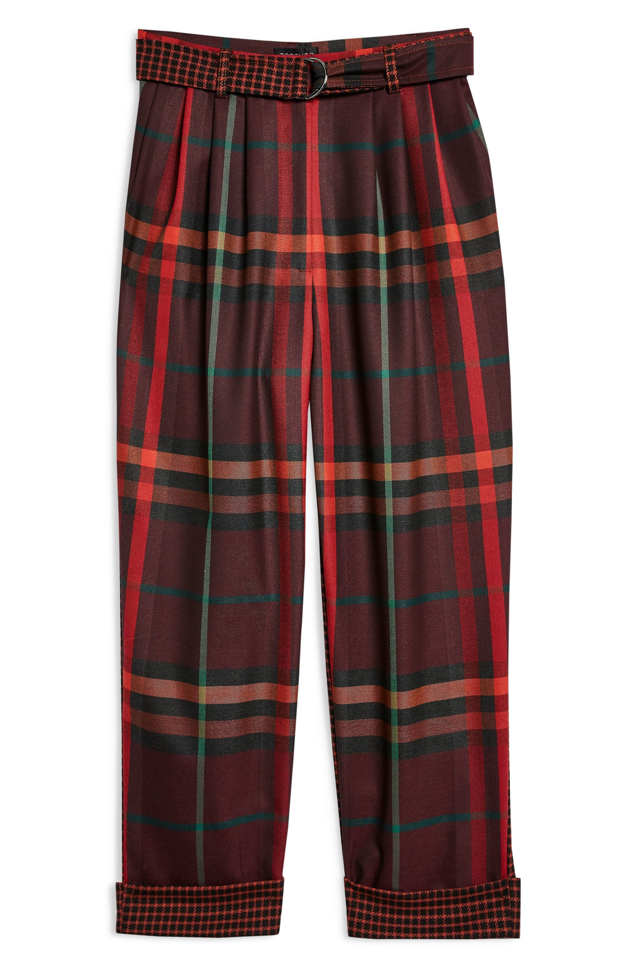 Belted Mixed Check Peg Trousers,                             Alternate thumbnail 5, color,                             RED MULTI