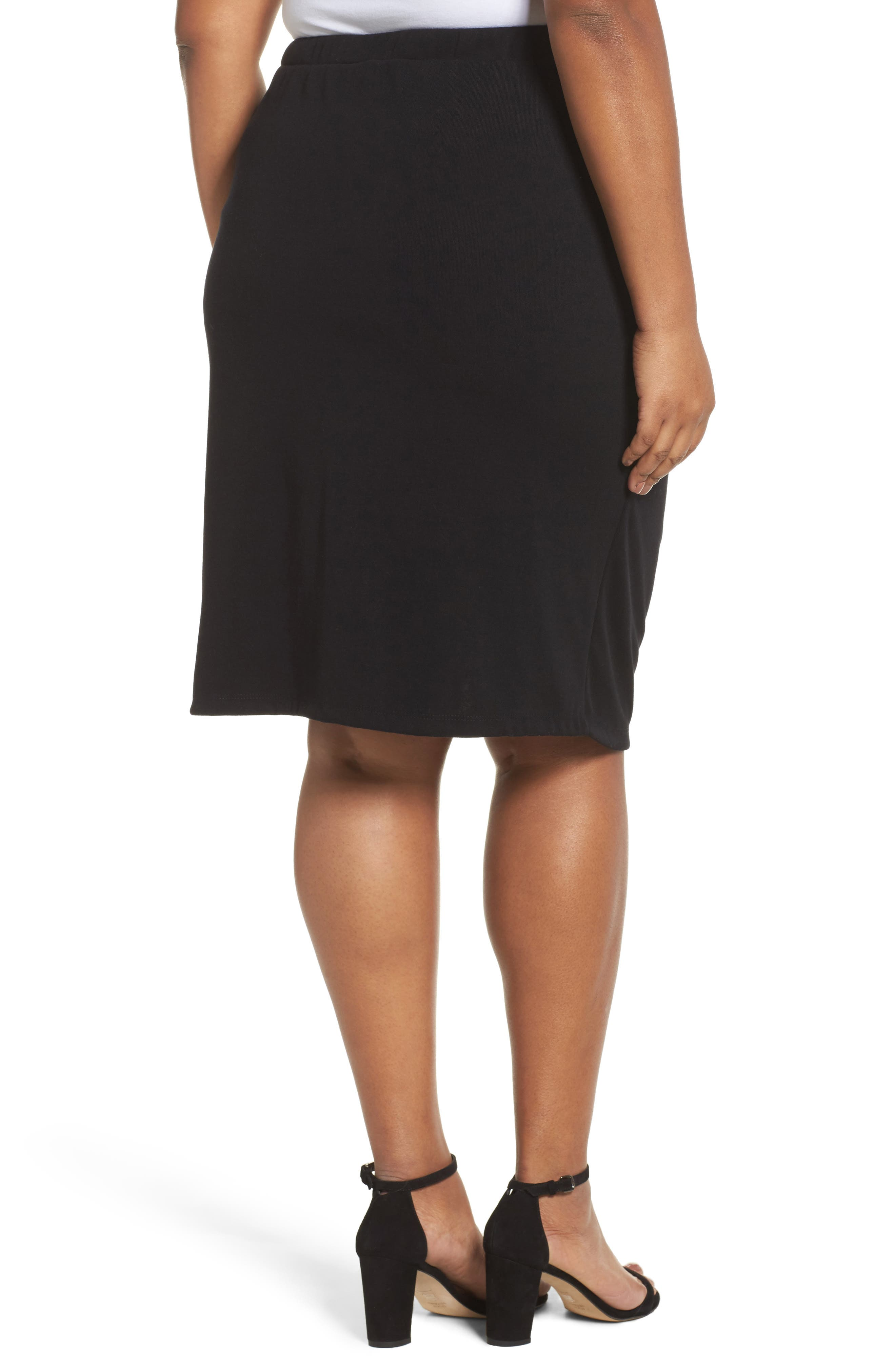 Side Ruched Pencil Skirt,                             Alternate thumbnail 2, color,                             001