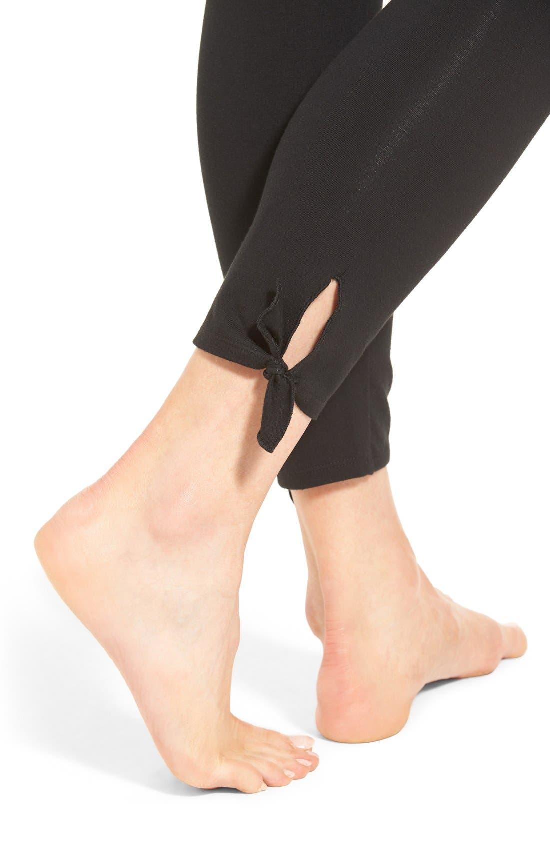 Tie Ankle Leggings,                             Alternate thumbnail 3, color,                             001