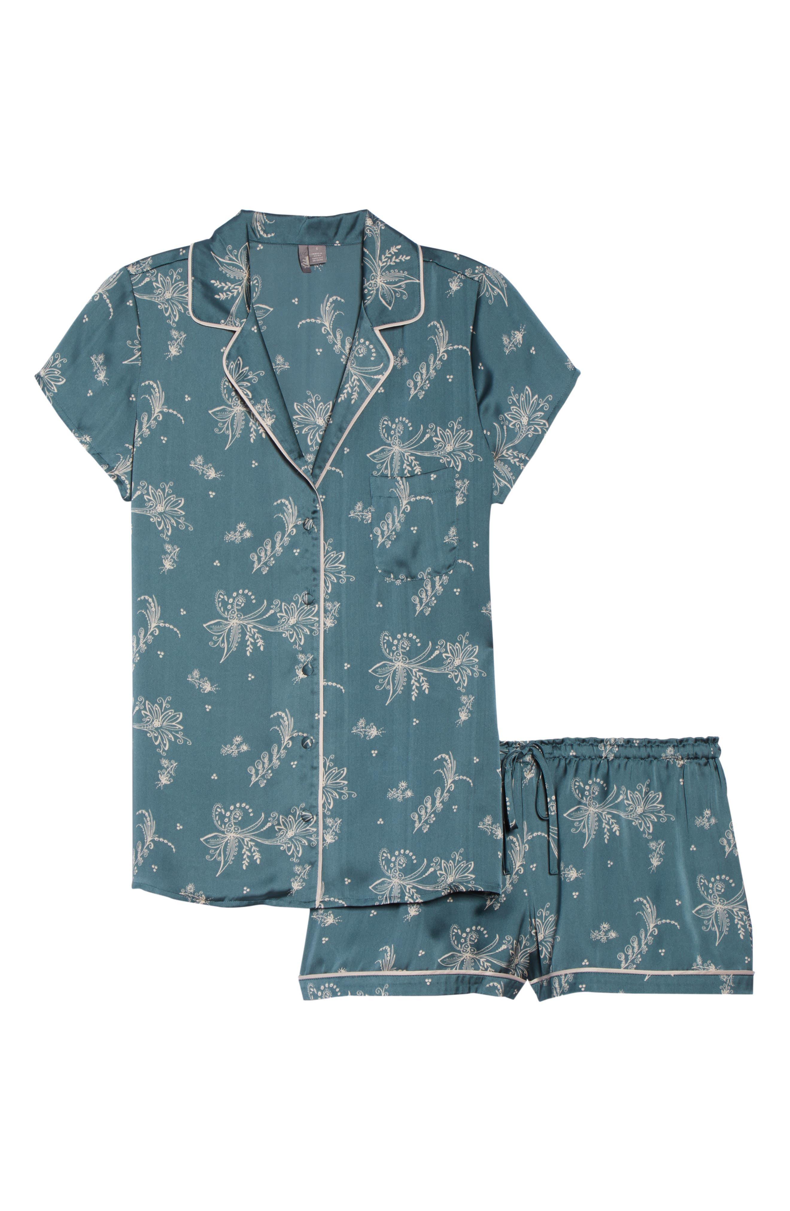 Satin Pajamas,                             Alternate thumbnail 6, color,                             BLUE GOBLIN FLIRTY FLORAL