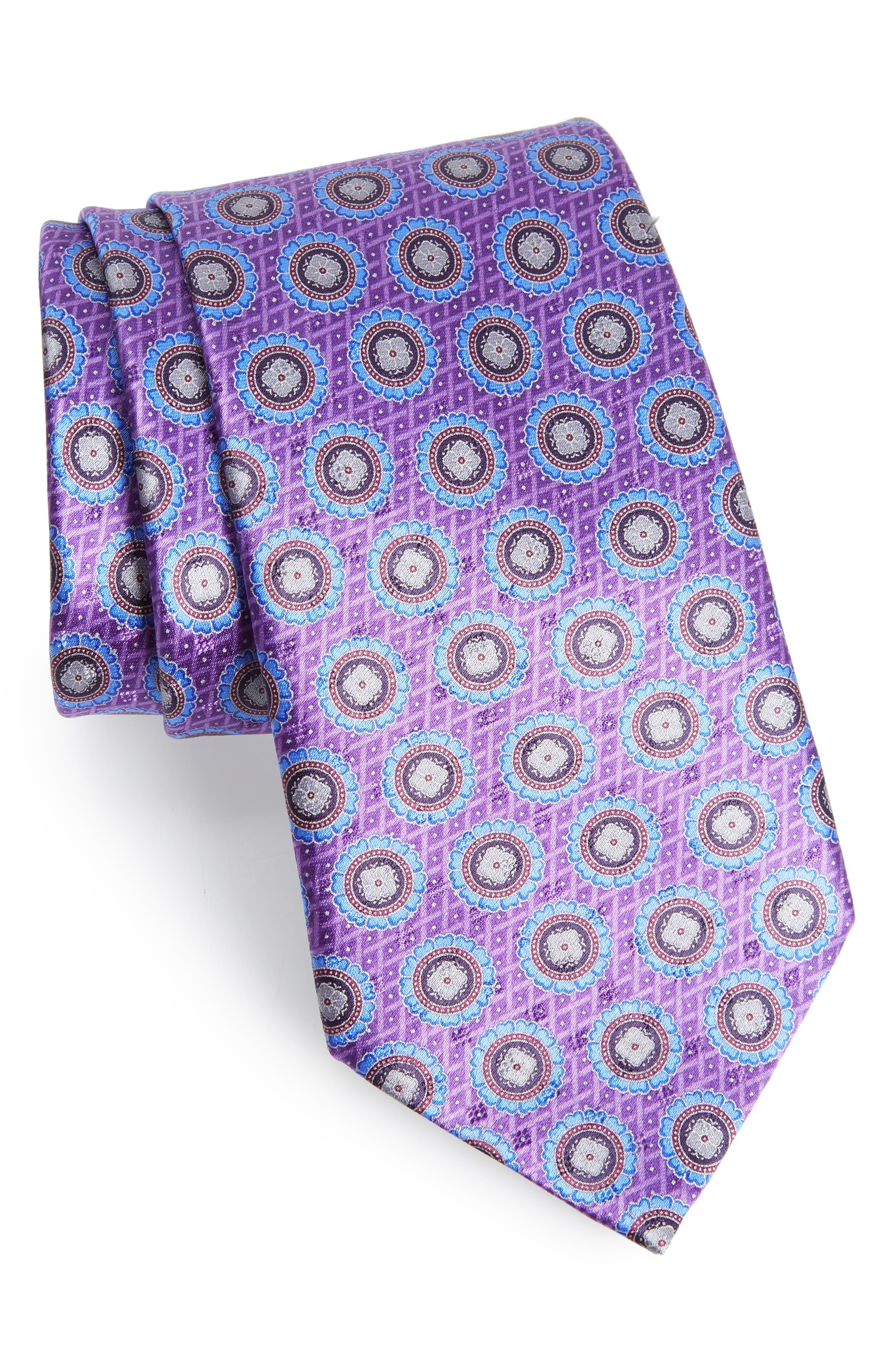 Medallion Silk Tie,                             Main thumbnail 1, color,                             518