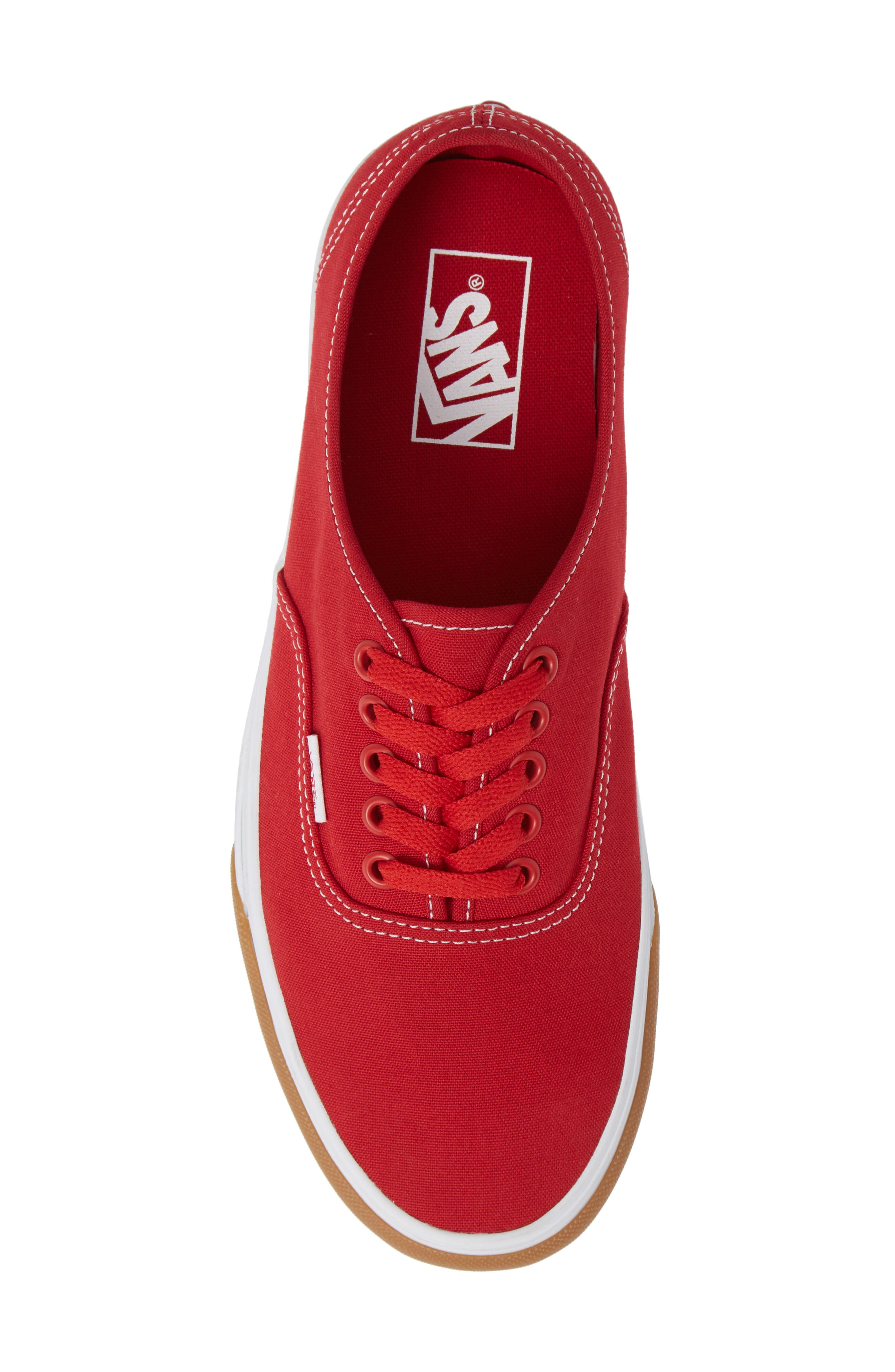 VANS,                             Authentic Gum Bumper Sneaker,                             Alternate thumbnail 5, color,                             RED/ TRUE WHITE