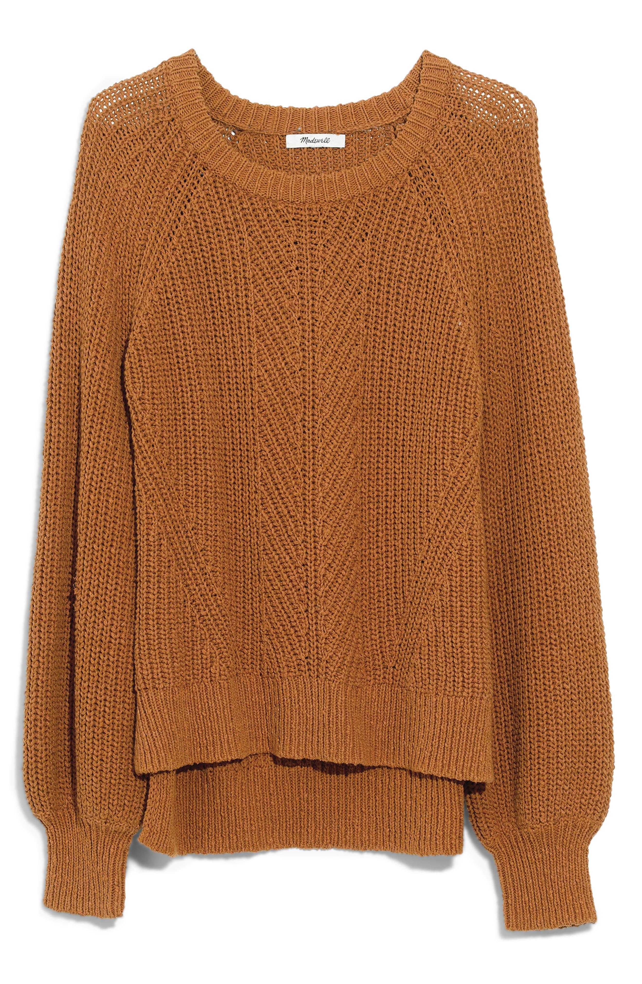 Balloon Sleeve Pullover Sweater,                             Main thumbnail 1, color,                             EGYPTIAN GOLD