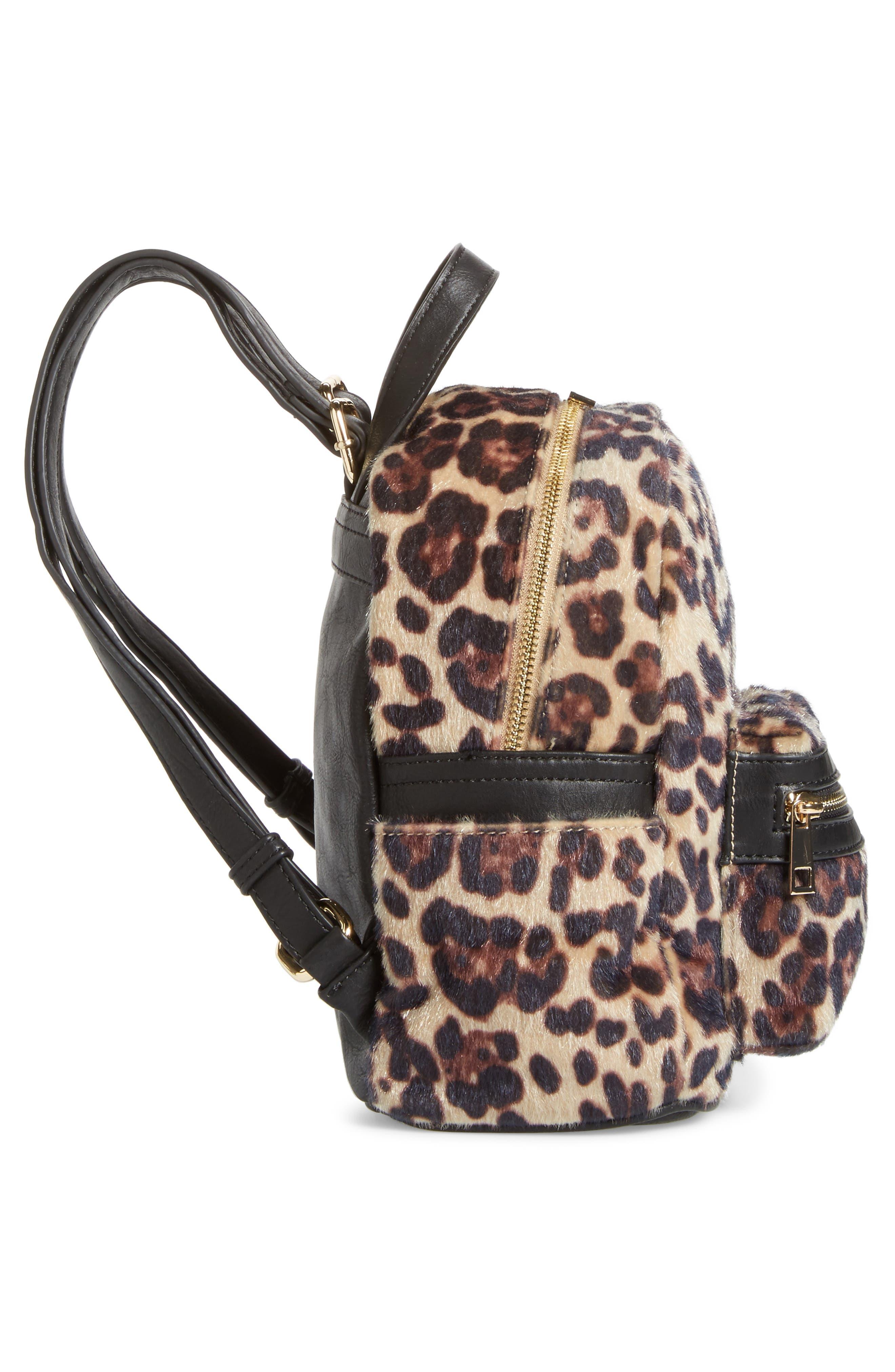 Leopard Print Faux Fur Backpack,                             Alternate thumbnail 5, color,                             200