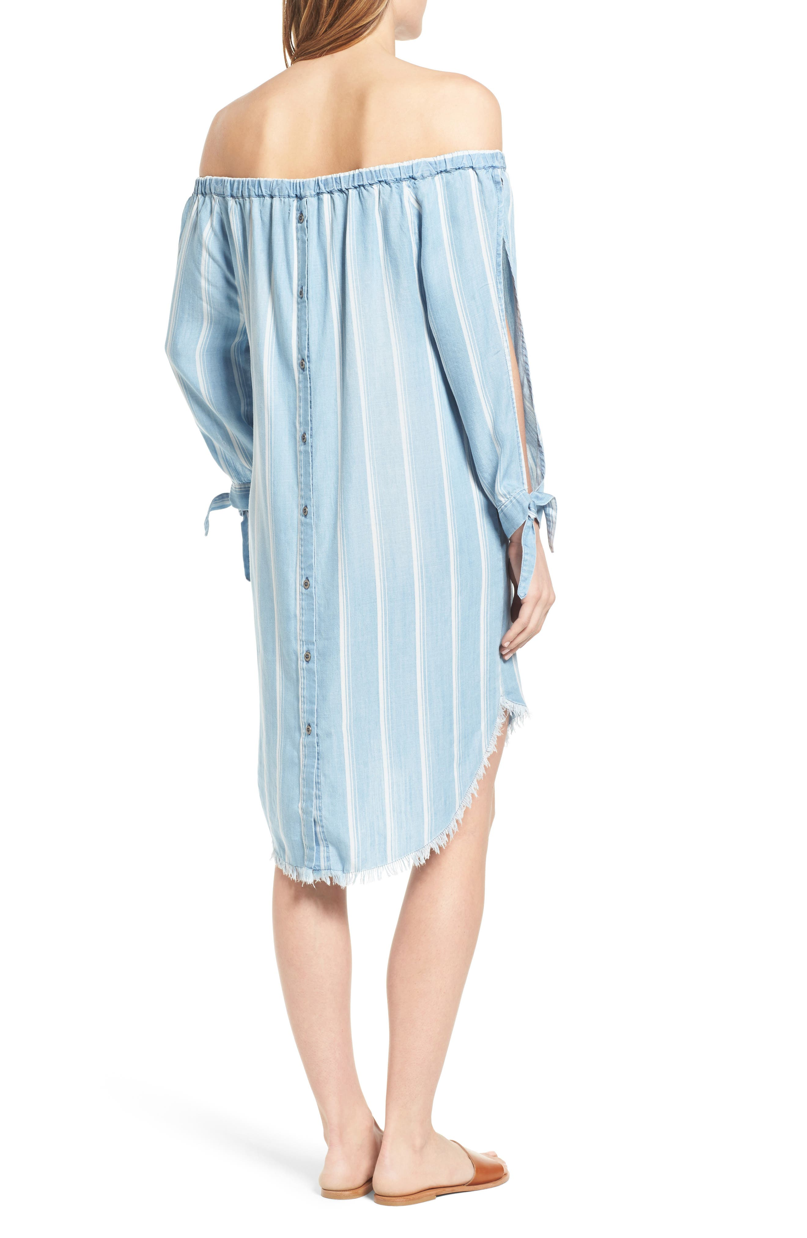 Off the Shoulder Stripe Chambray Dress,                             Alternate thumbnail 2, color,                             400