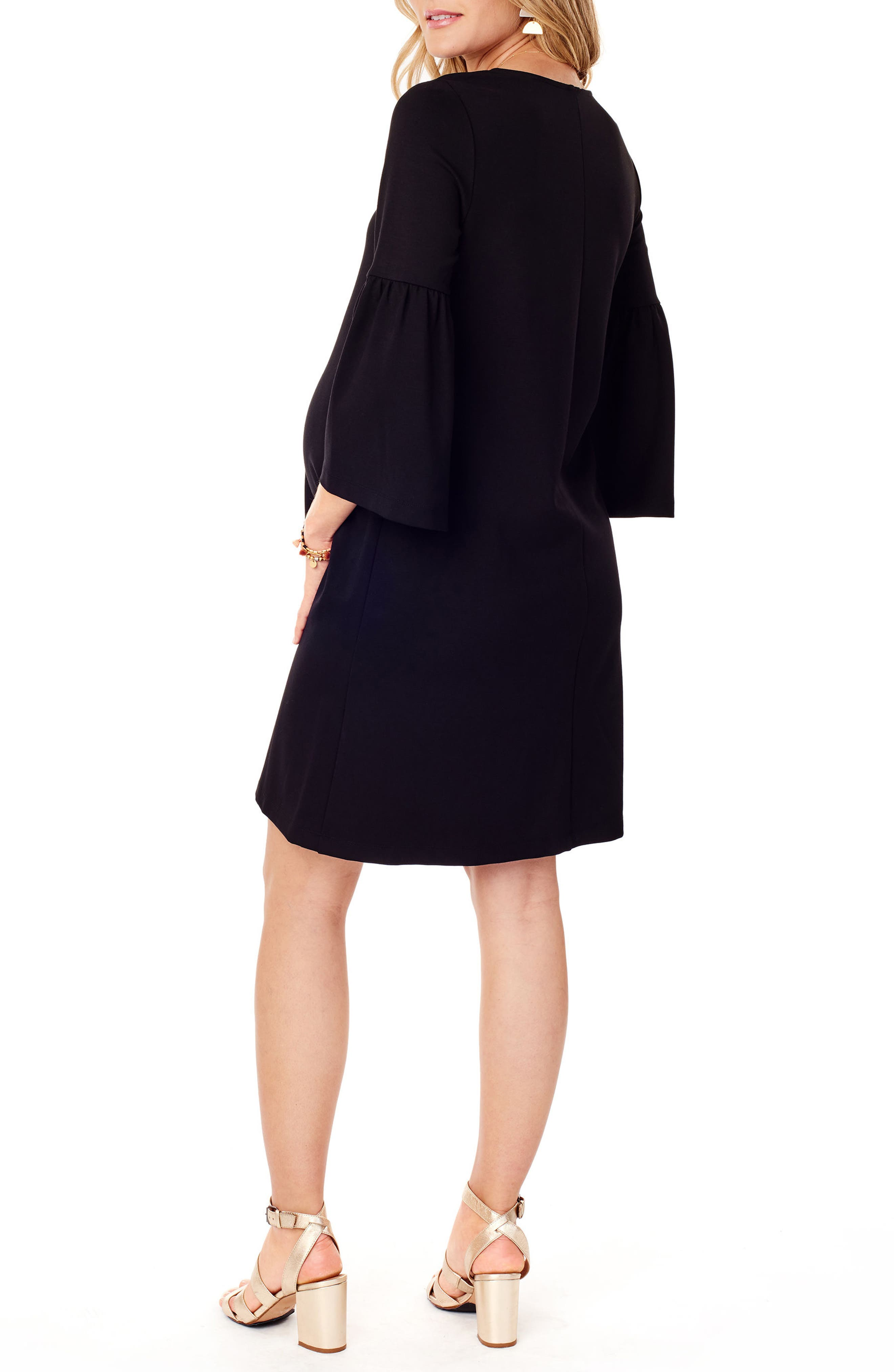 Ponte Knit Bell Sleeve Maternity Dress,                             Alternate thumbnail 2, color,                             JET BLACK