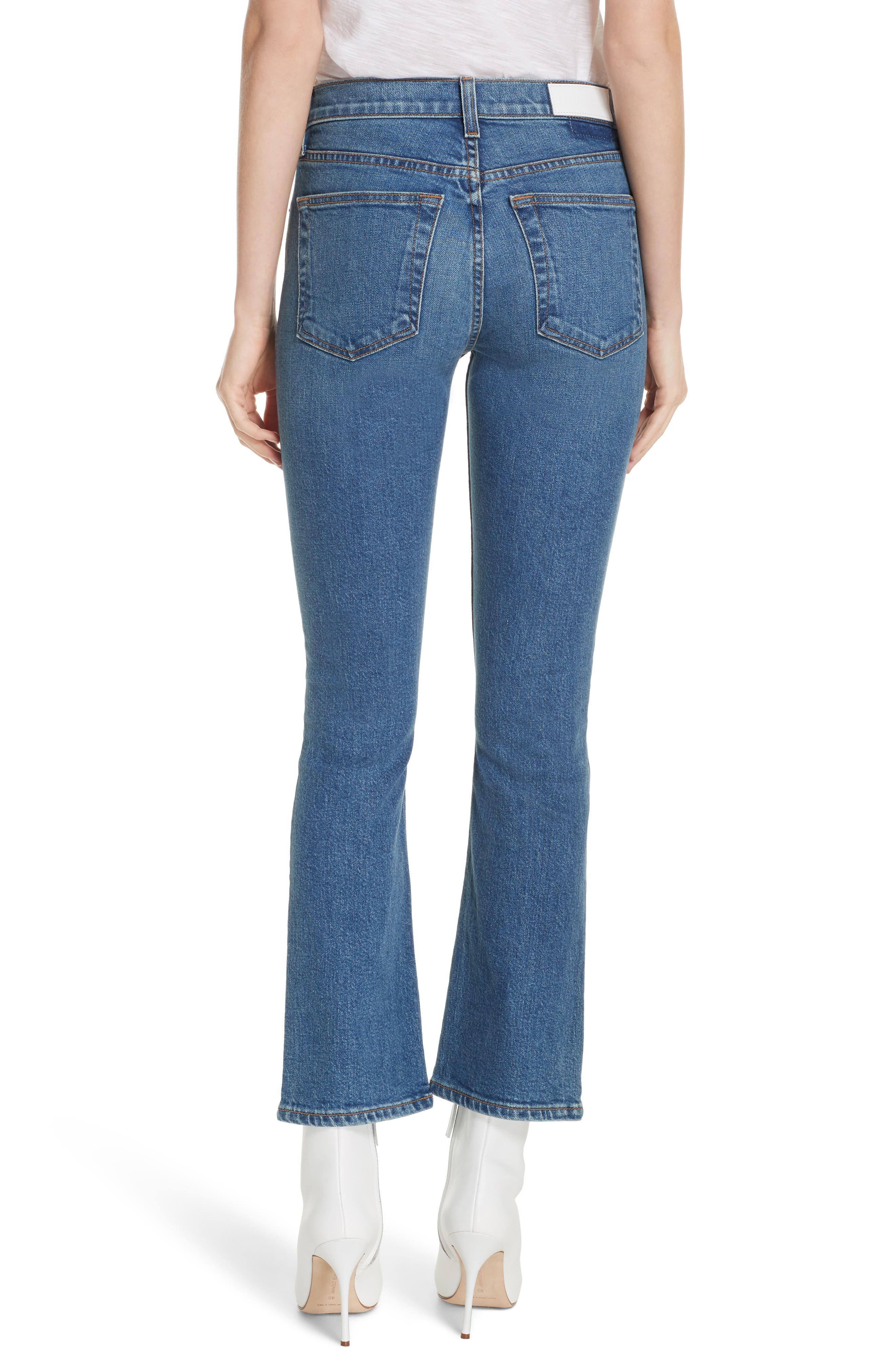 Crop Stretch Flare Jeans,                             Alternate thumbnail 2, color,                             MID 70S