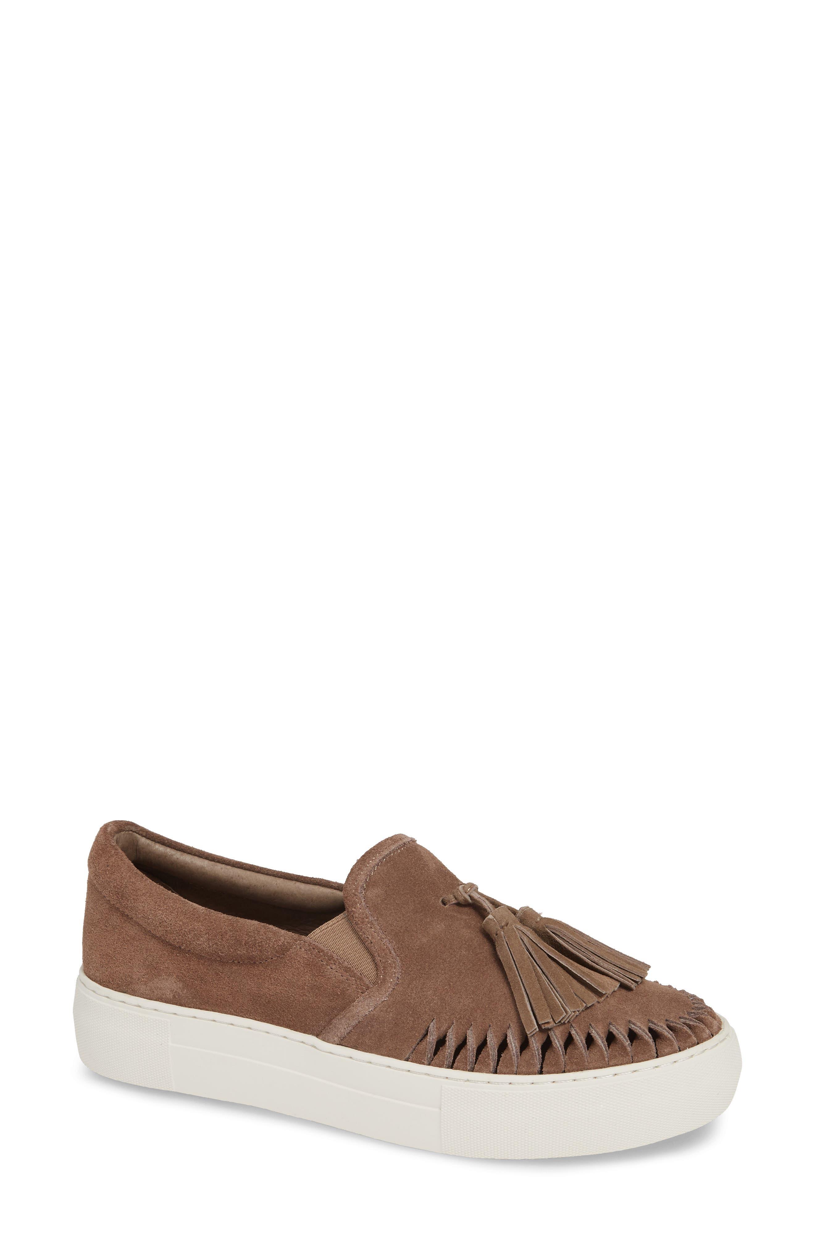 Tassel Slip-On Sneaker, Main, color, BEIGE