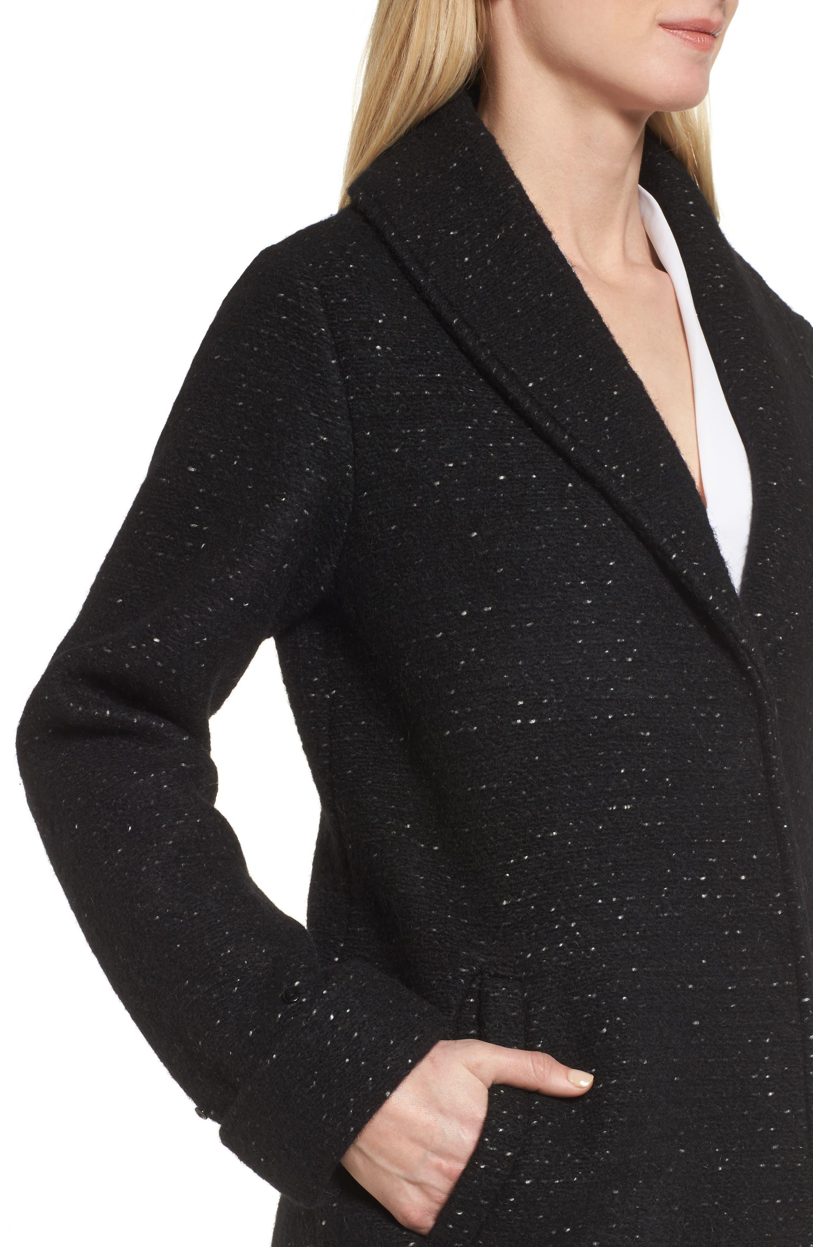 Grace Genuine Fox Fur Trim Knit Wool Blend Long Coat,                             Alternate thumbnail 4, color,                             001