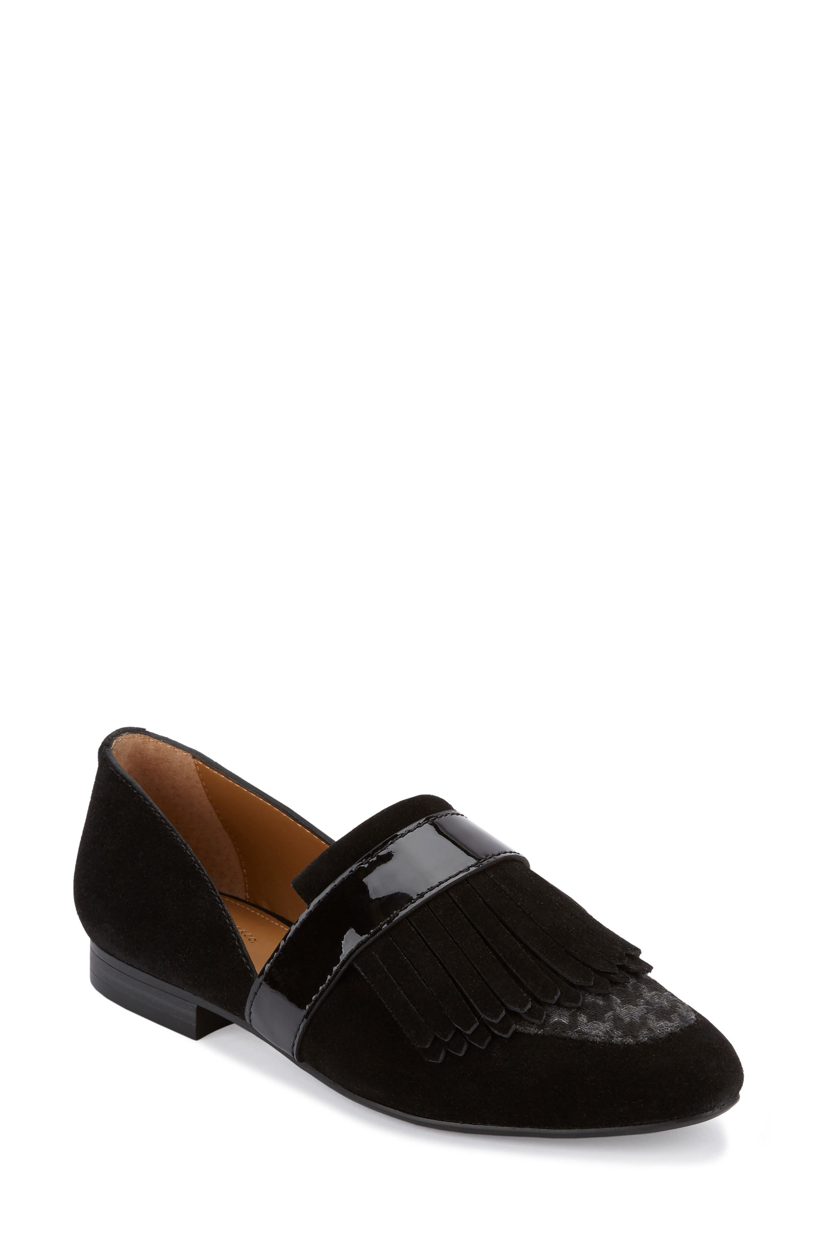 'Harlow' Kiltie Leather Loafer,                             Main thumbnail 1, color,                             002