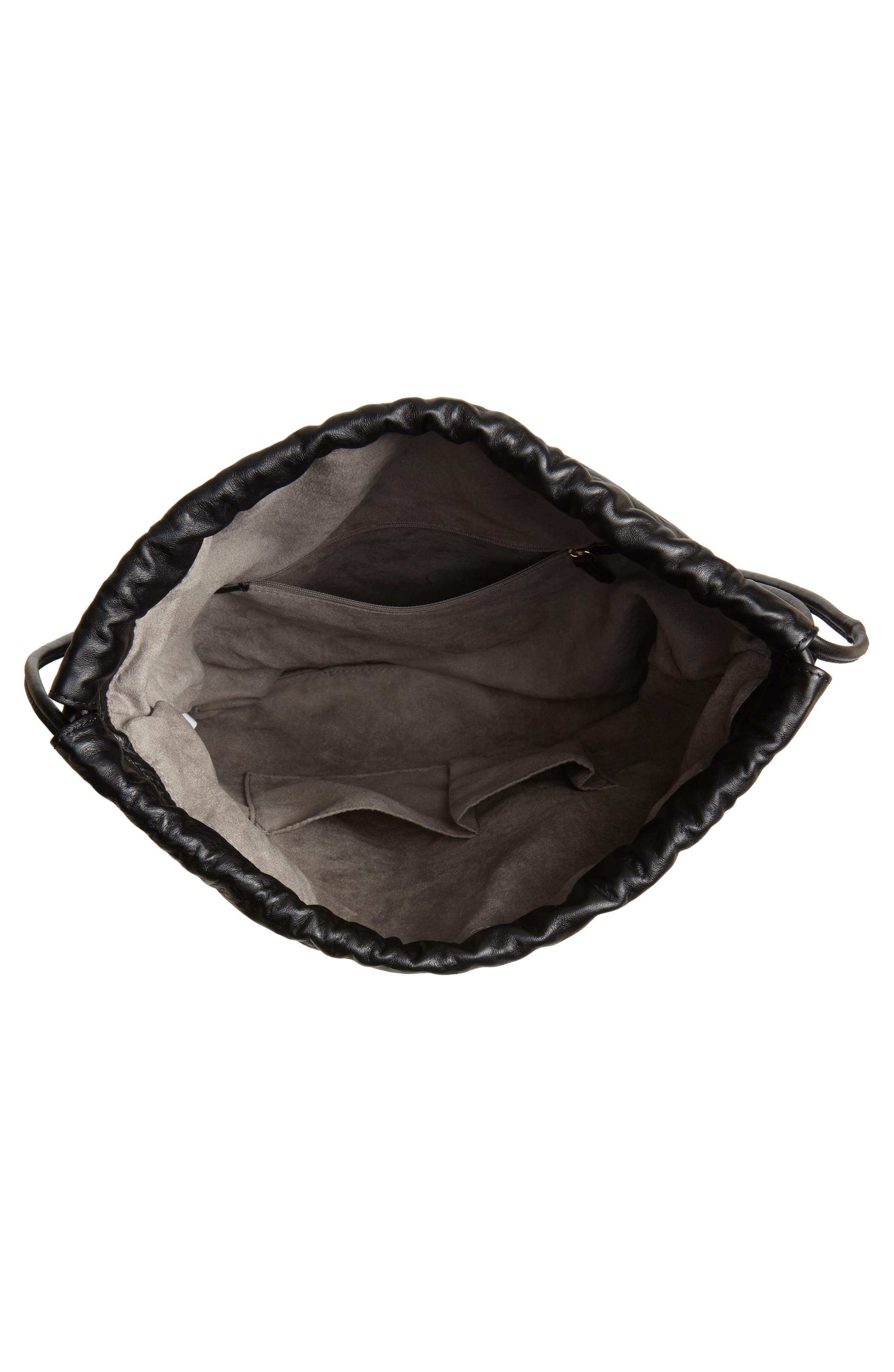 Kira Leather Backpack,                             Alternate thumbnail 4, color,                             BLACK