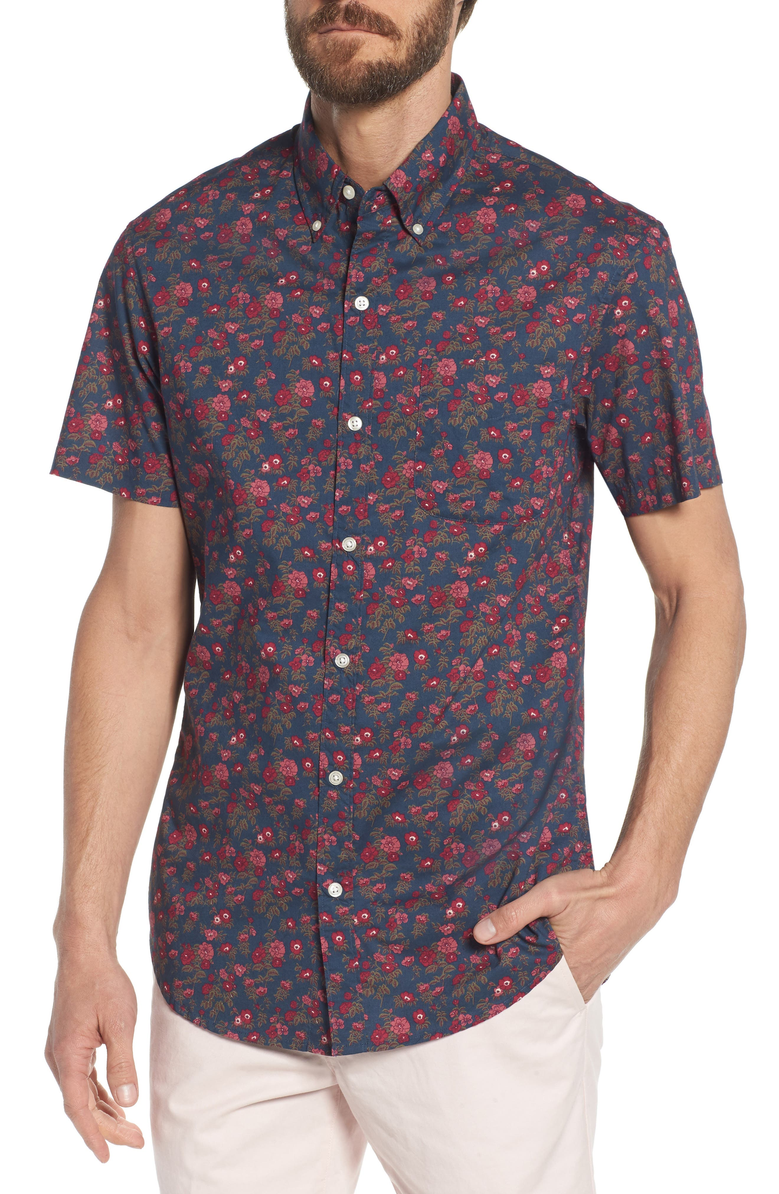 Riviera Slim Fit Floral Print Sport Shirt,                         Main,                         color, 400