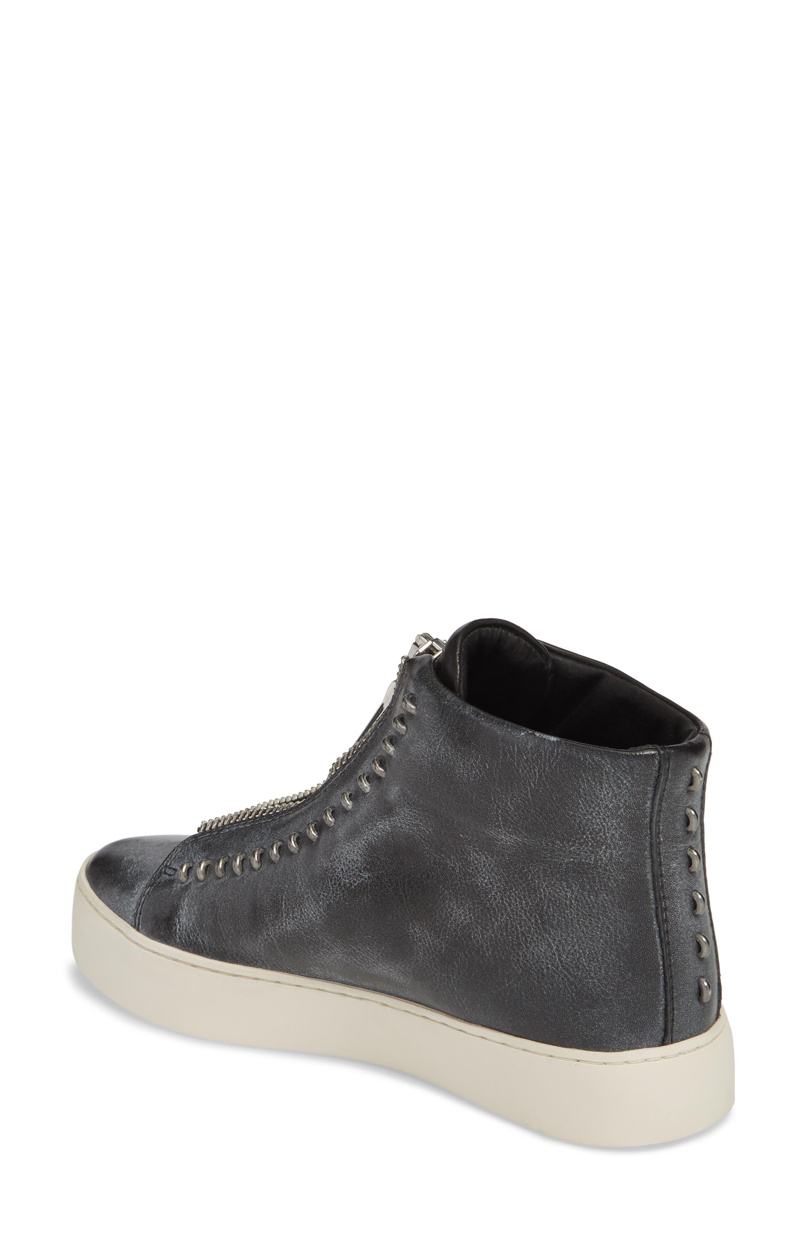 Lena Rebel Zip High Top Sneaker,                             Alternate thumbnail 2, color,                             BLACK