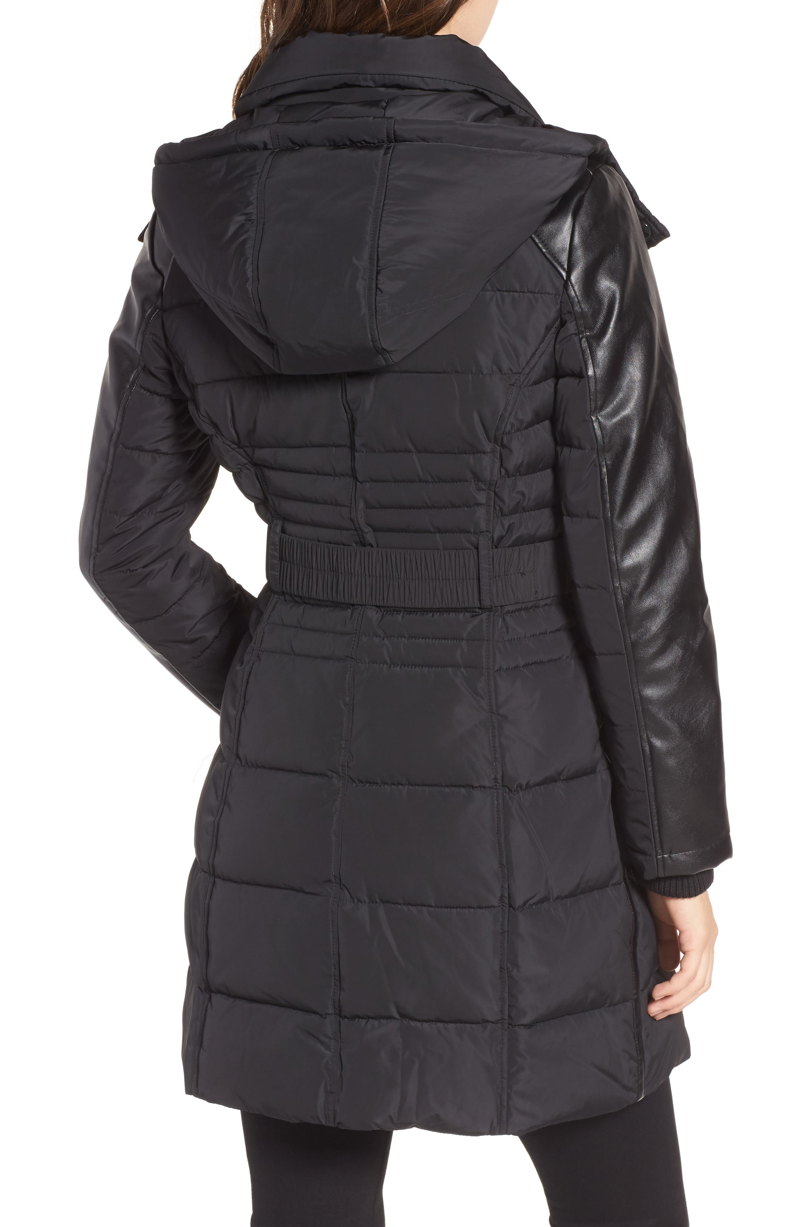 Belted Mixed Media Coat,                             Alternate thumbnail 2, color,                             001