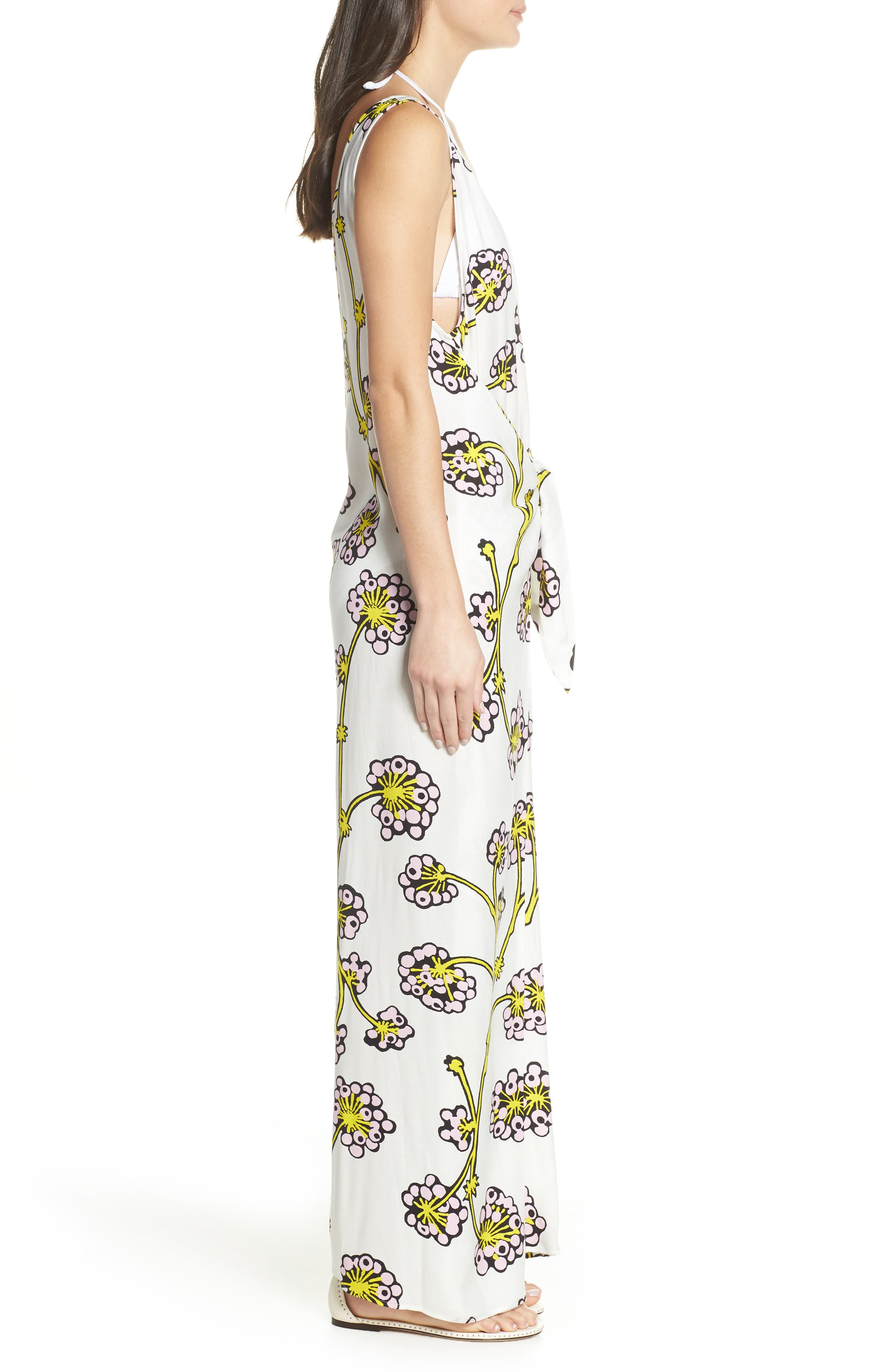 Print Jumpsuit Cover-Up,                             Alternate thumbnail 3, color,                             DRAGON BERRY GIANT IVORY