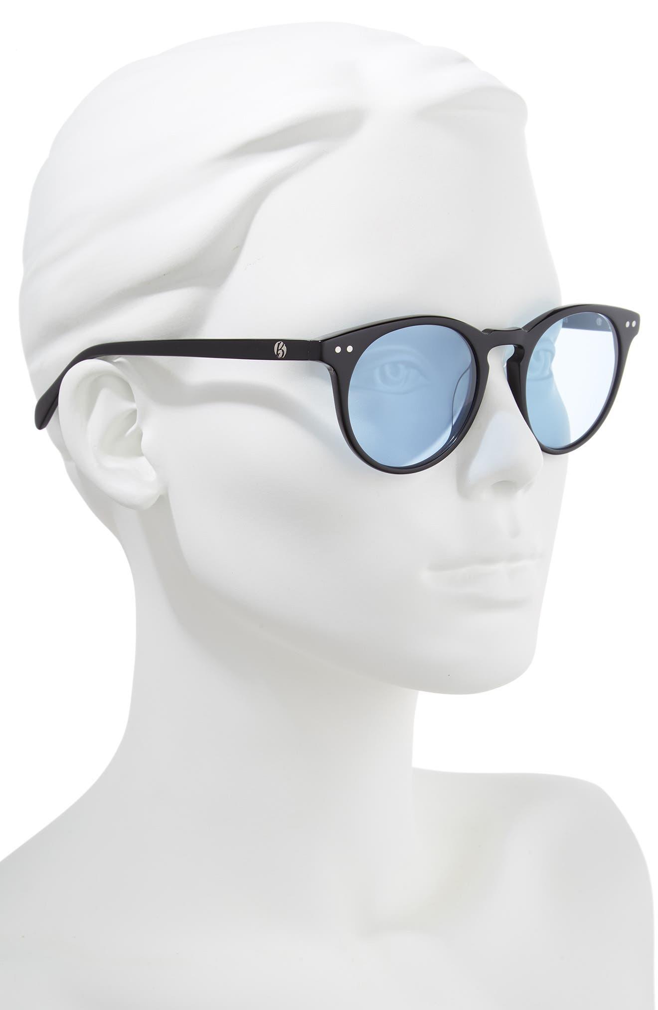 Oxford 49mm Sunglasses,                             Alternate thumbnail 2, color,                             BLACK/ ARCTIC BLUE