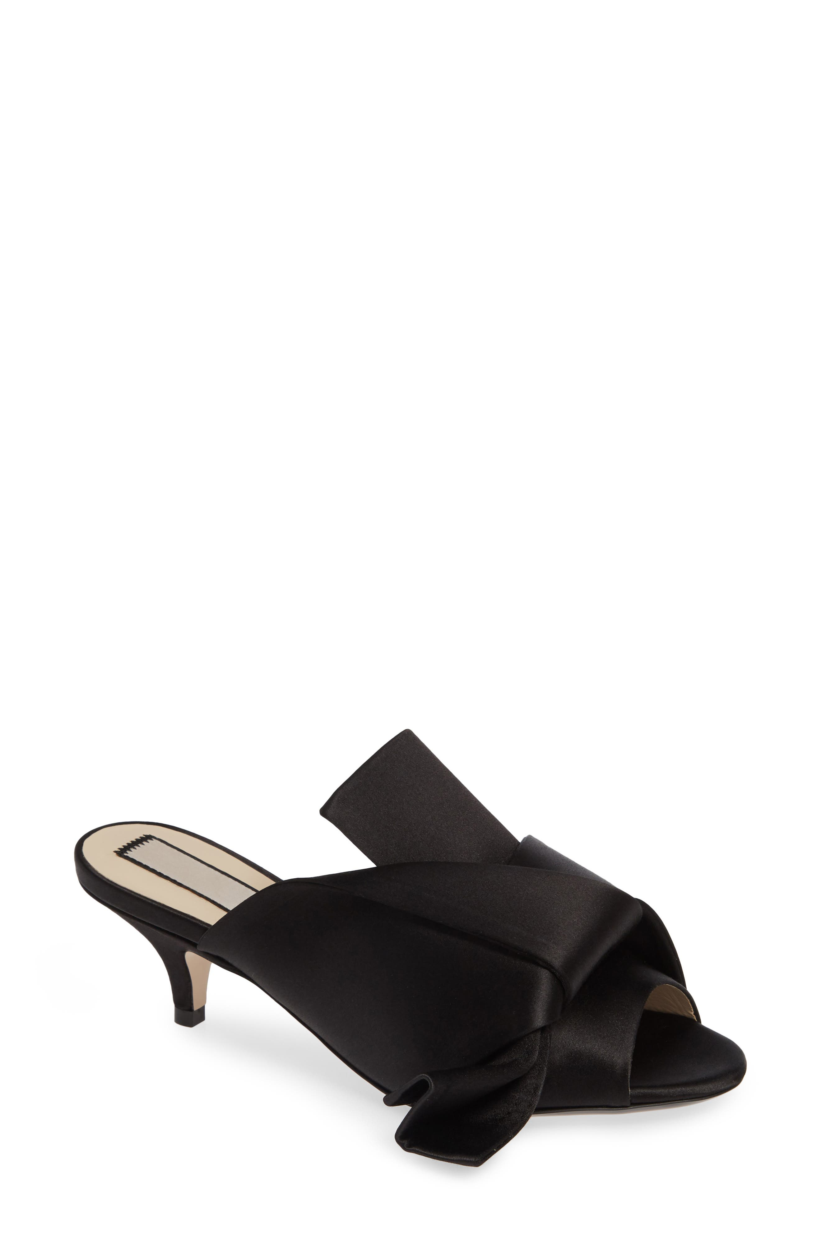 Bow Slide Sandal,                         Main,                         color, BLACK