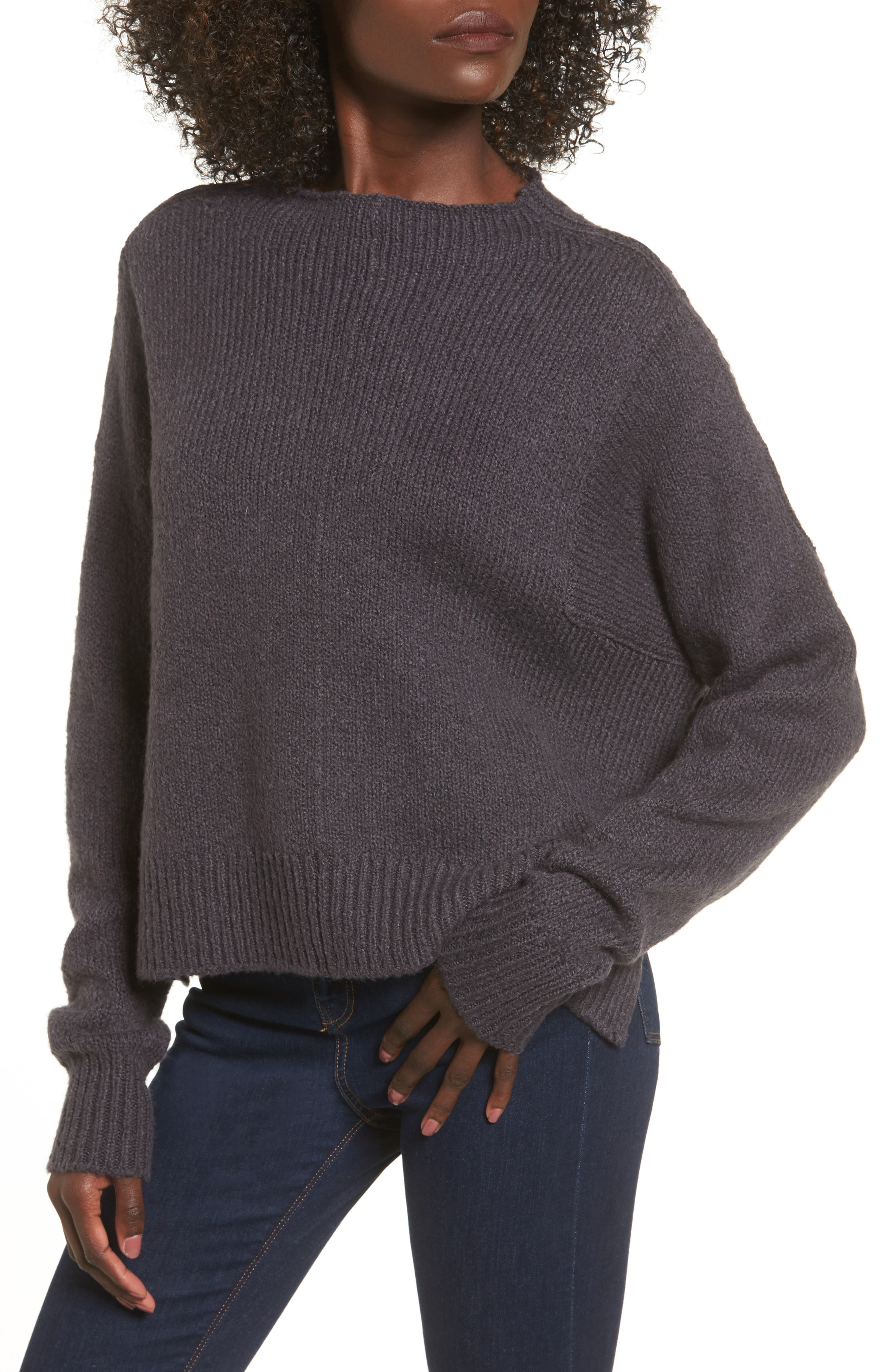 Fuzzy Side Slit Sweater,                             Main thumbnail 1, color,