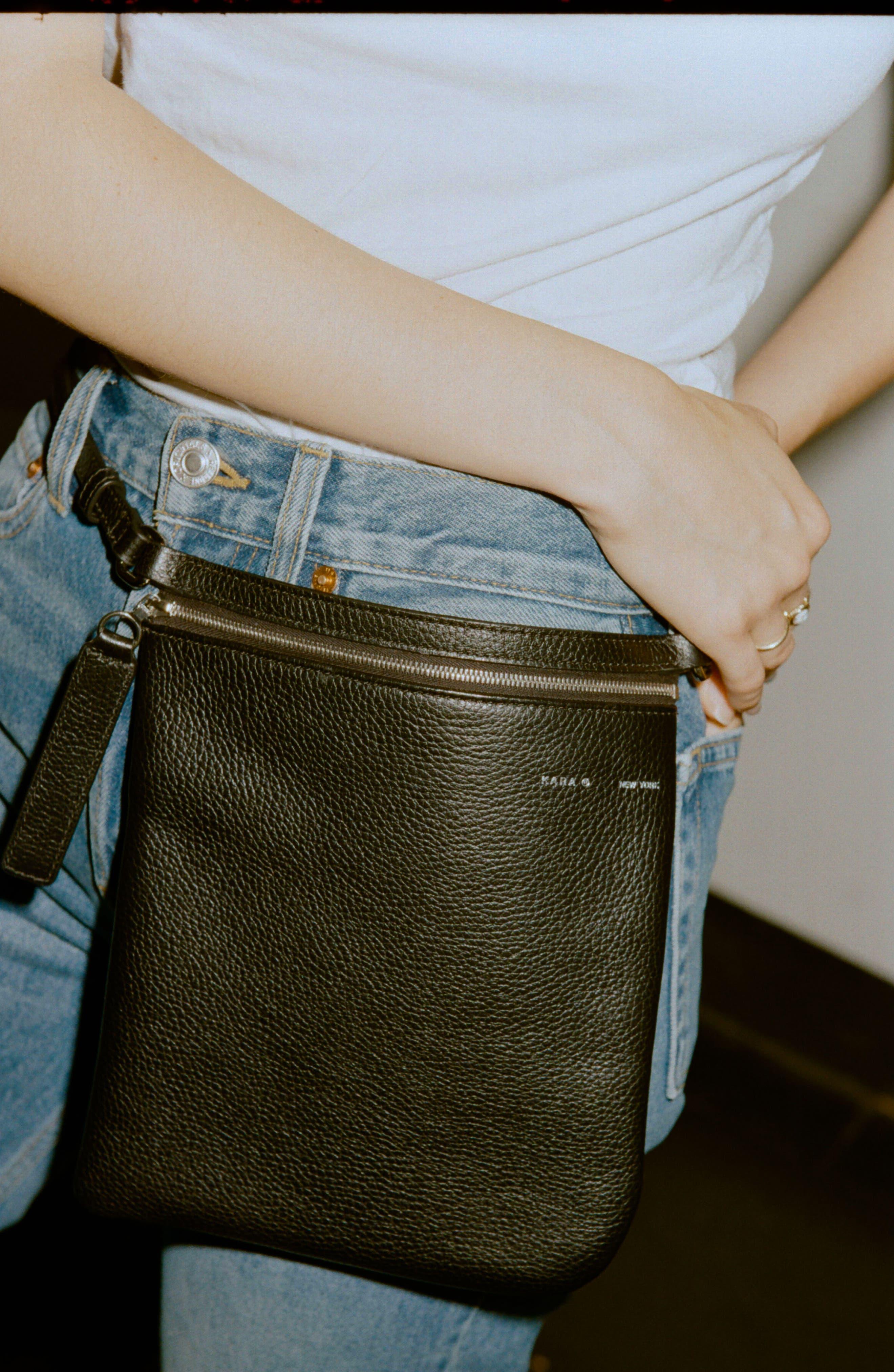 Belt Bag,                             Alternate thumbnail 8, color,                             BLACK LEATHER