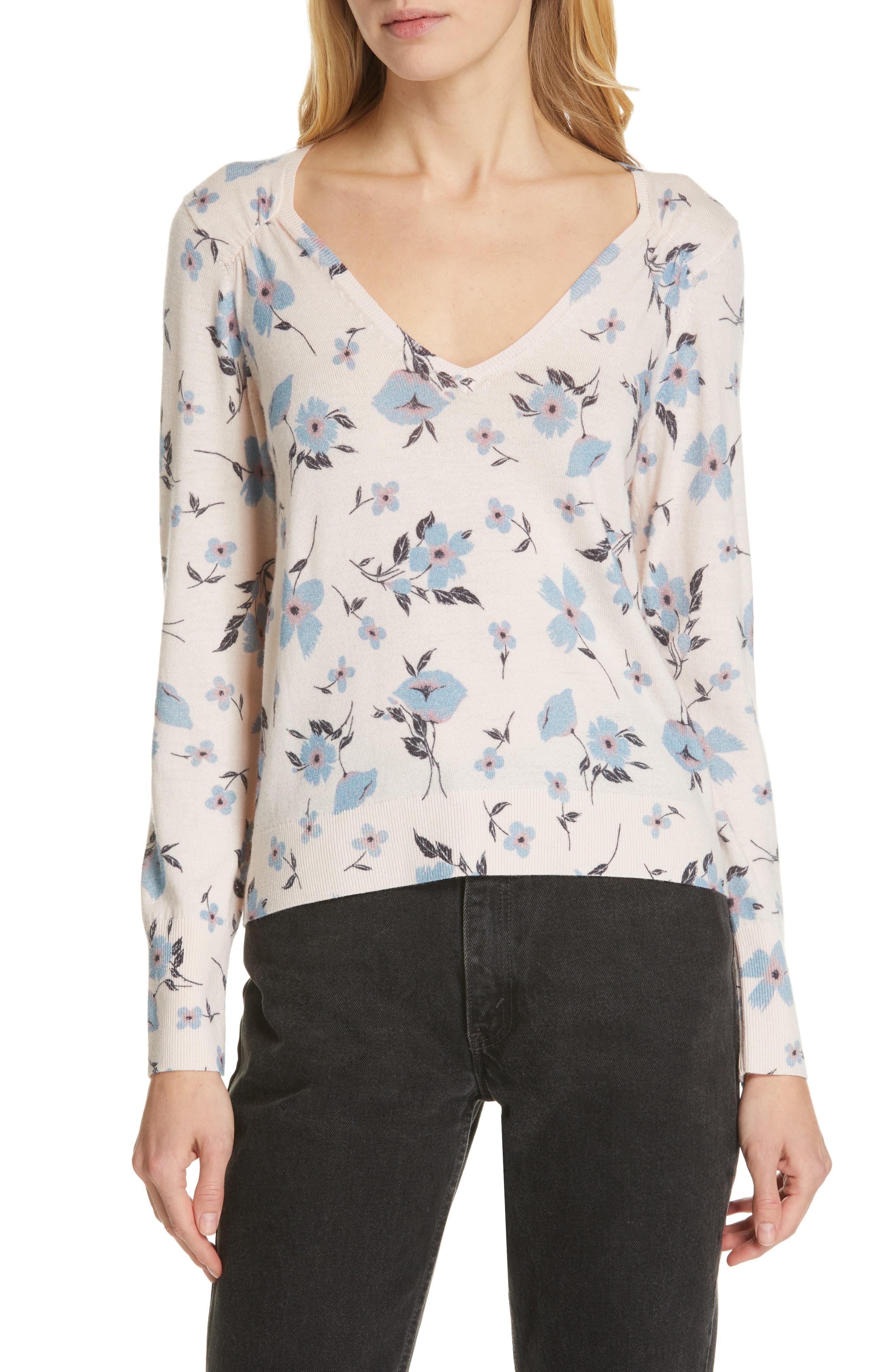 Daniella Wool & Cashmere V-Neck Sweater, Main, color, NUDE COMBO