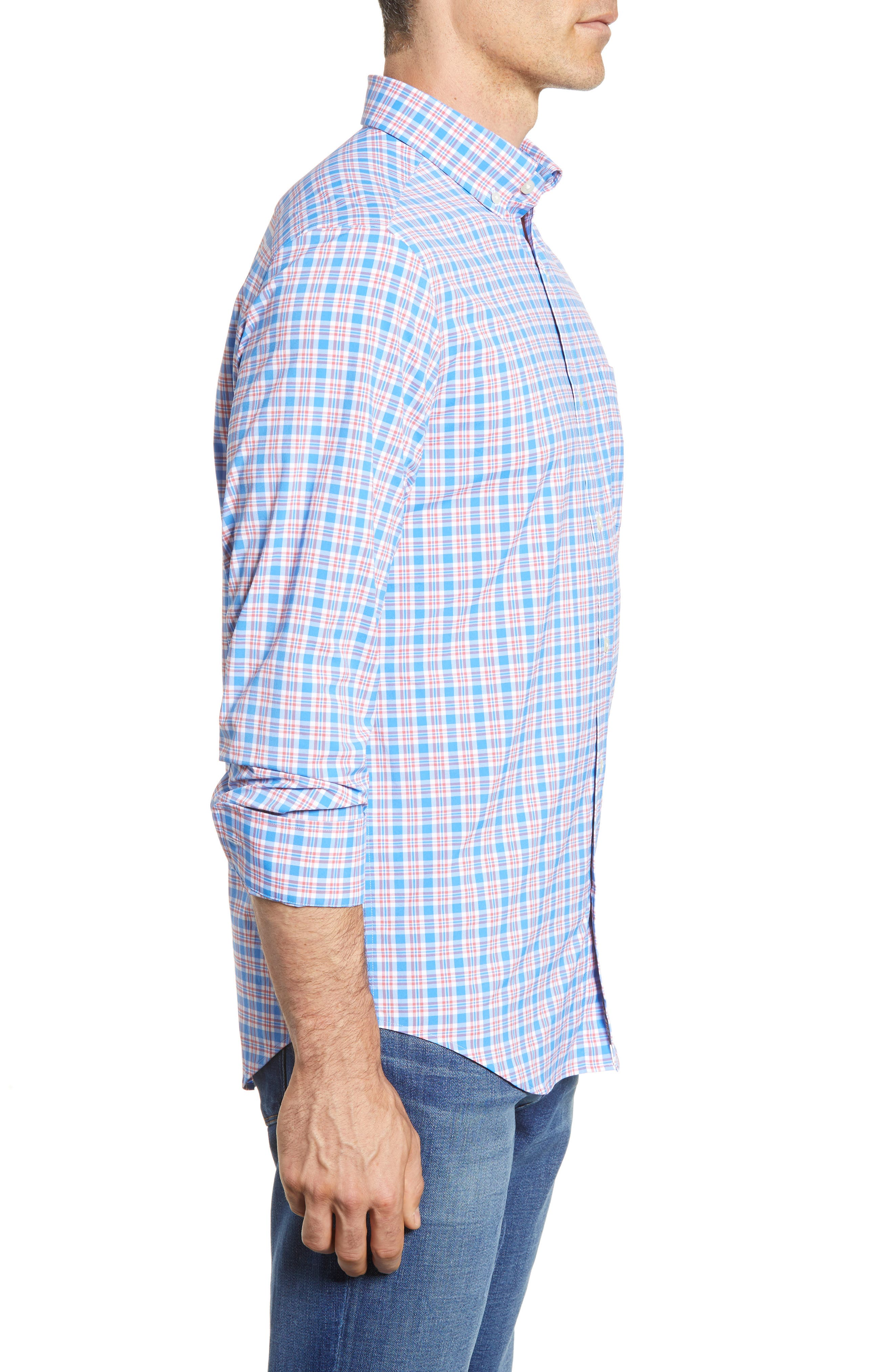 VINEYARD VINES,                             Lighthouse Road Regular Fit Plaid Sport Shirt,                             Alternate thumbnail 4, color,                             415