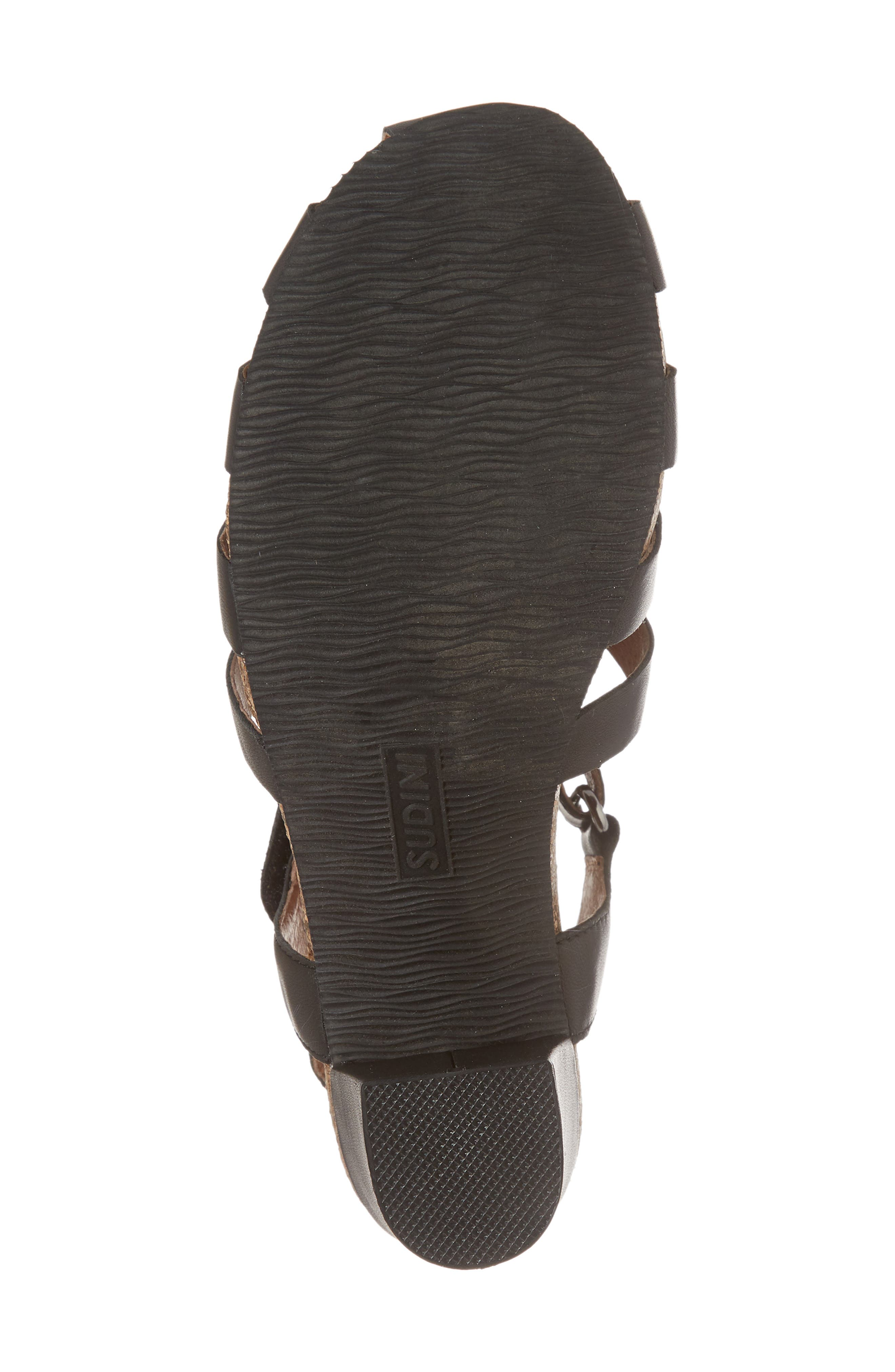 Carrara Block Heel Sandal,                             Alternate thumbnail 6, color,                             BLACK LEATHER