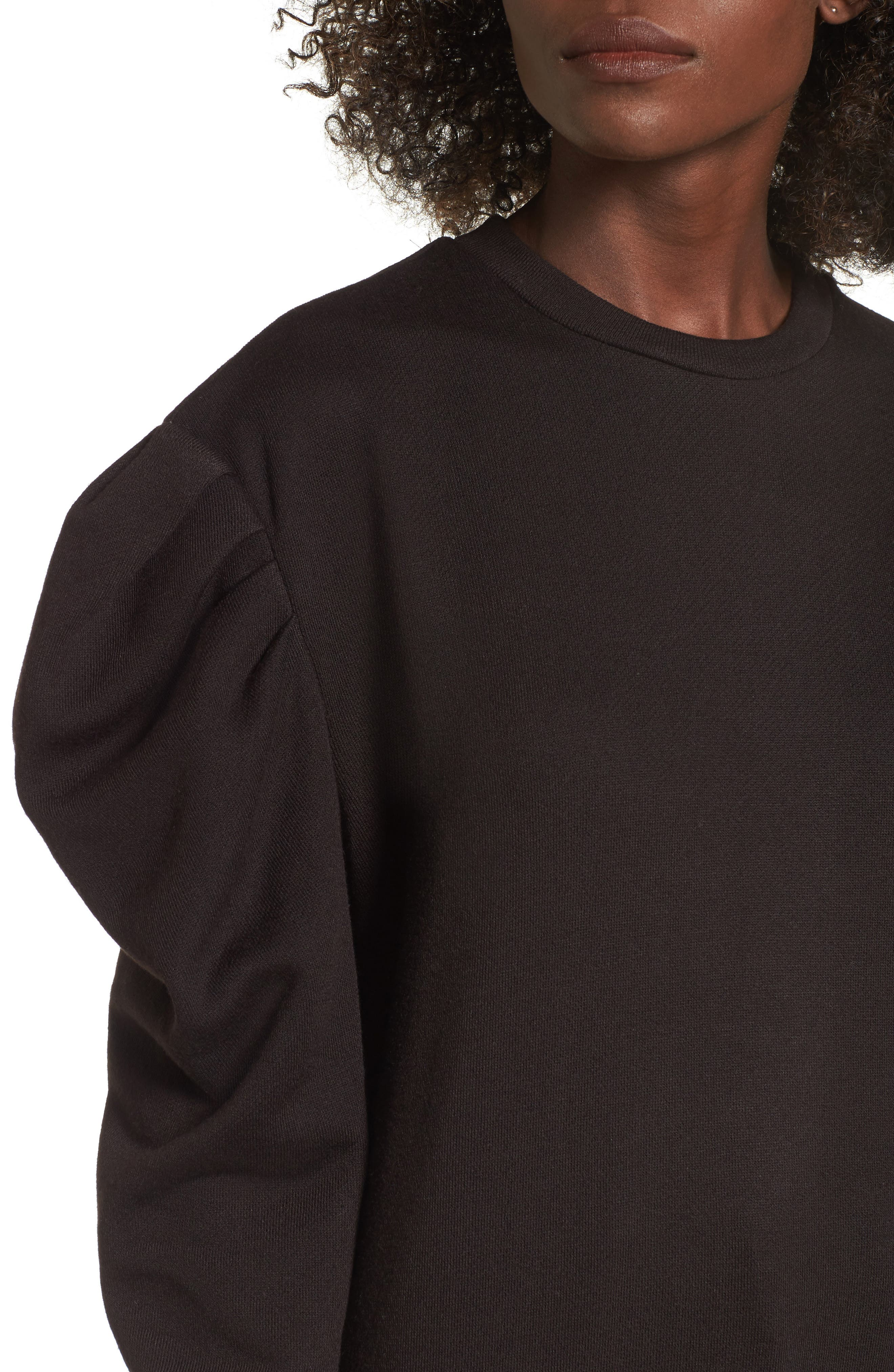 James Balloon Sleeve Sweatshirt,                             Alternate thumbnail 4, color,                             001