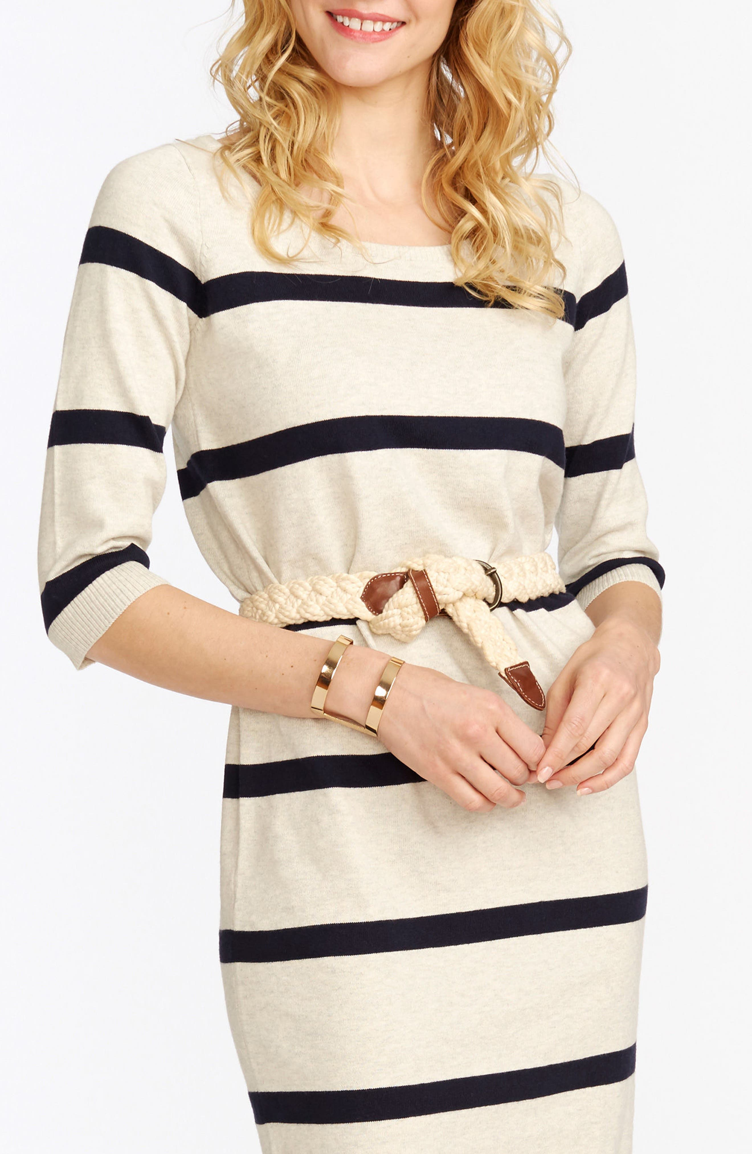'Harper' Stripe Maternity Sweater Dress,                             Alternate thumbnail 3, color,                             901