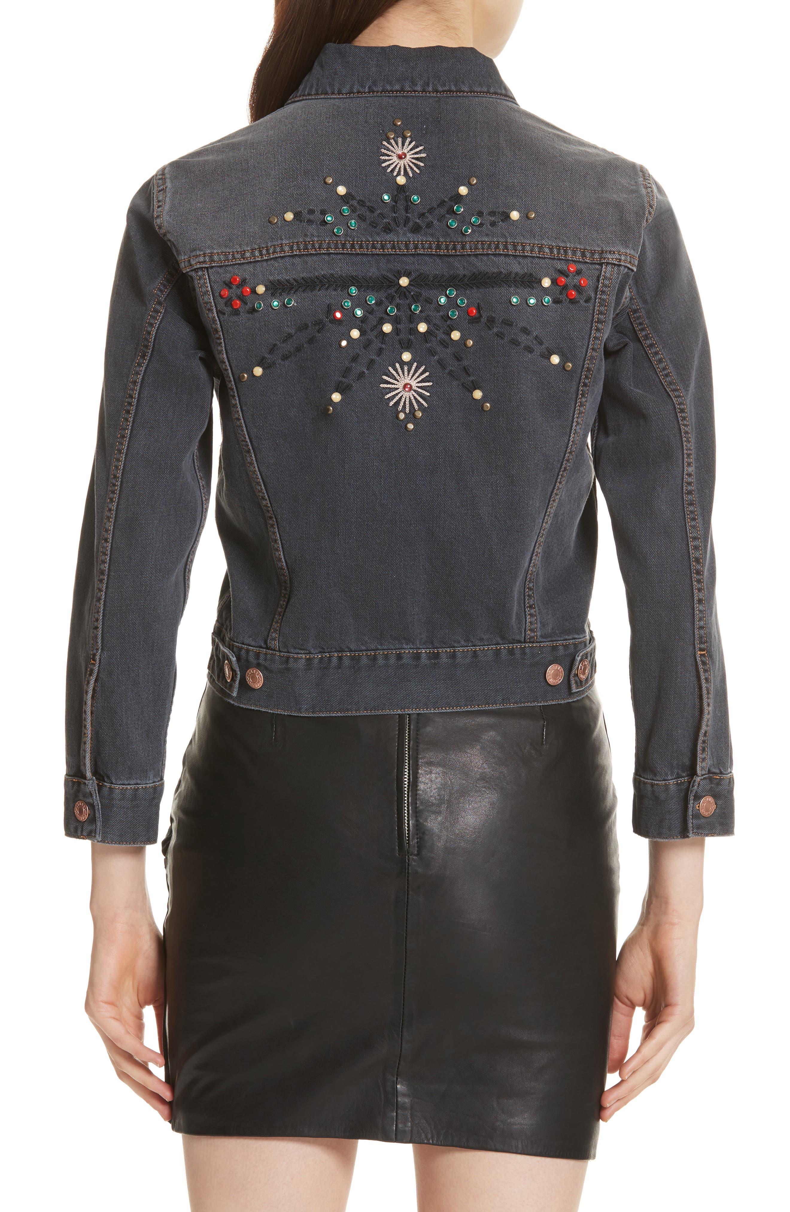Isabel Marant Étoile Cabella Embellished Denim Jacket,                             Alternate thumbnail 2, color,