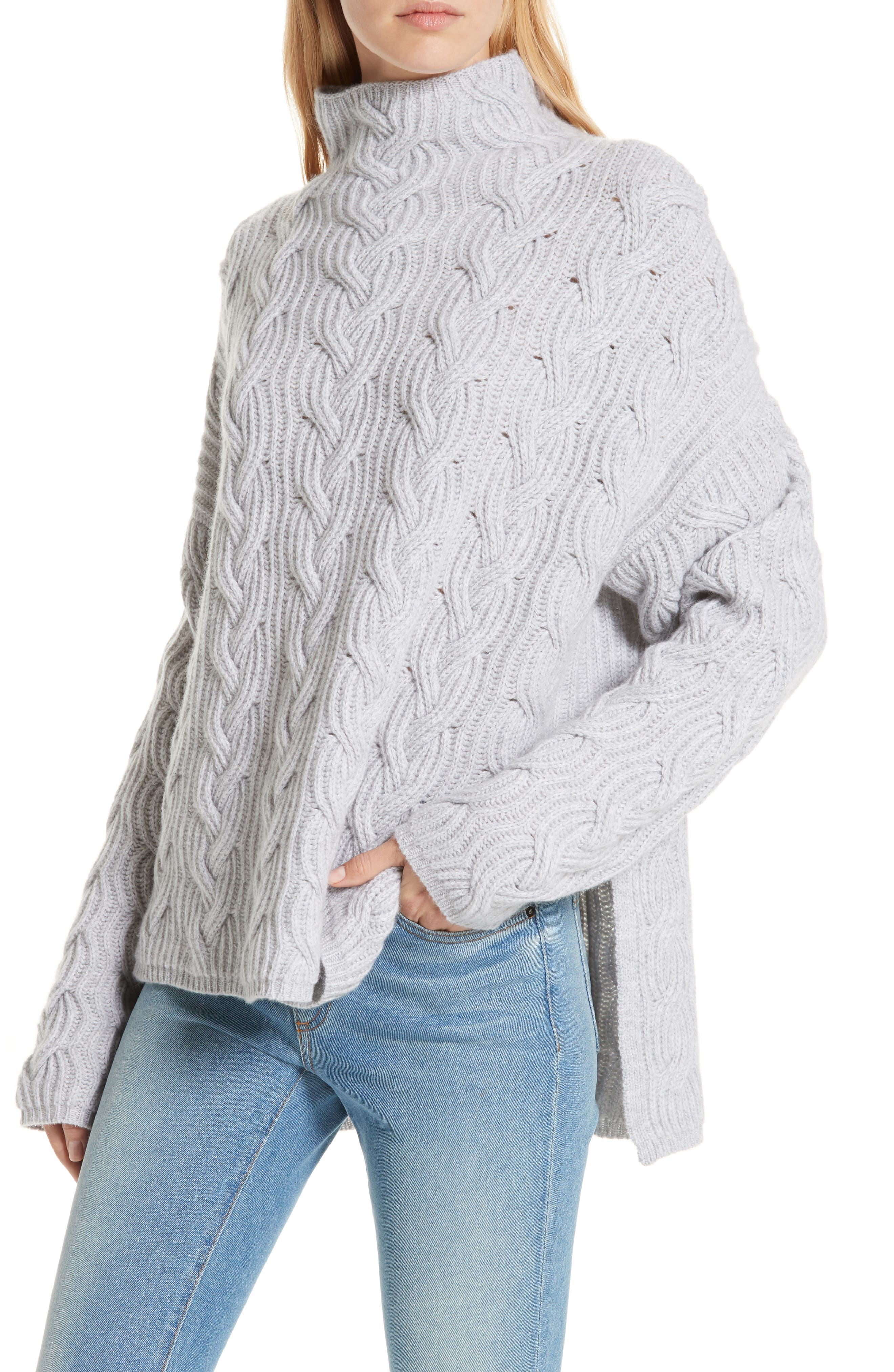 Cable Cashmere Knit Sweater,                             Alternate thumbnail 4, color,                             050