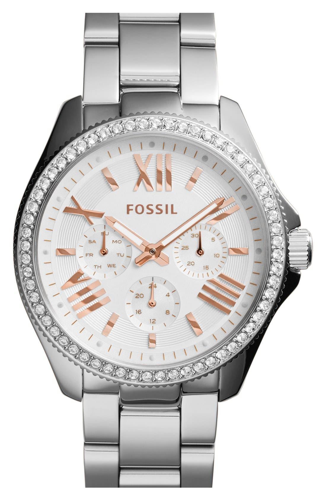 'Cecile' Crystal Bezel Chronograph Bracelet Watch, 40mm, Main, color, 040