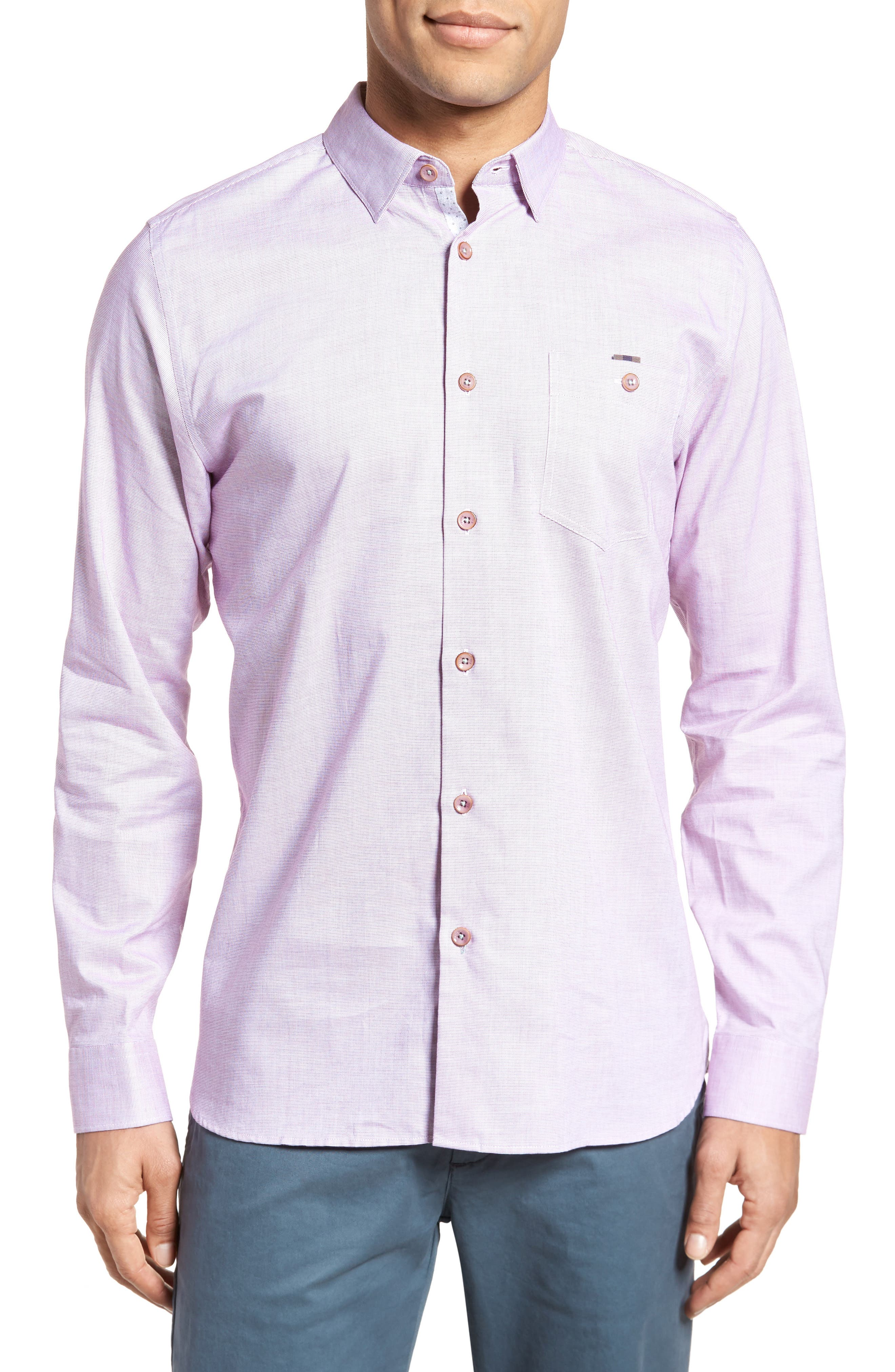 Slim Fit Textured Sport Shirt,                             Main thumbnail 4, color,