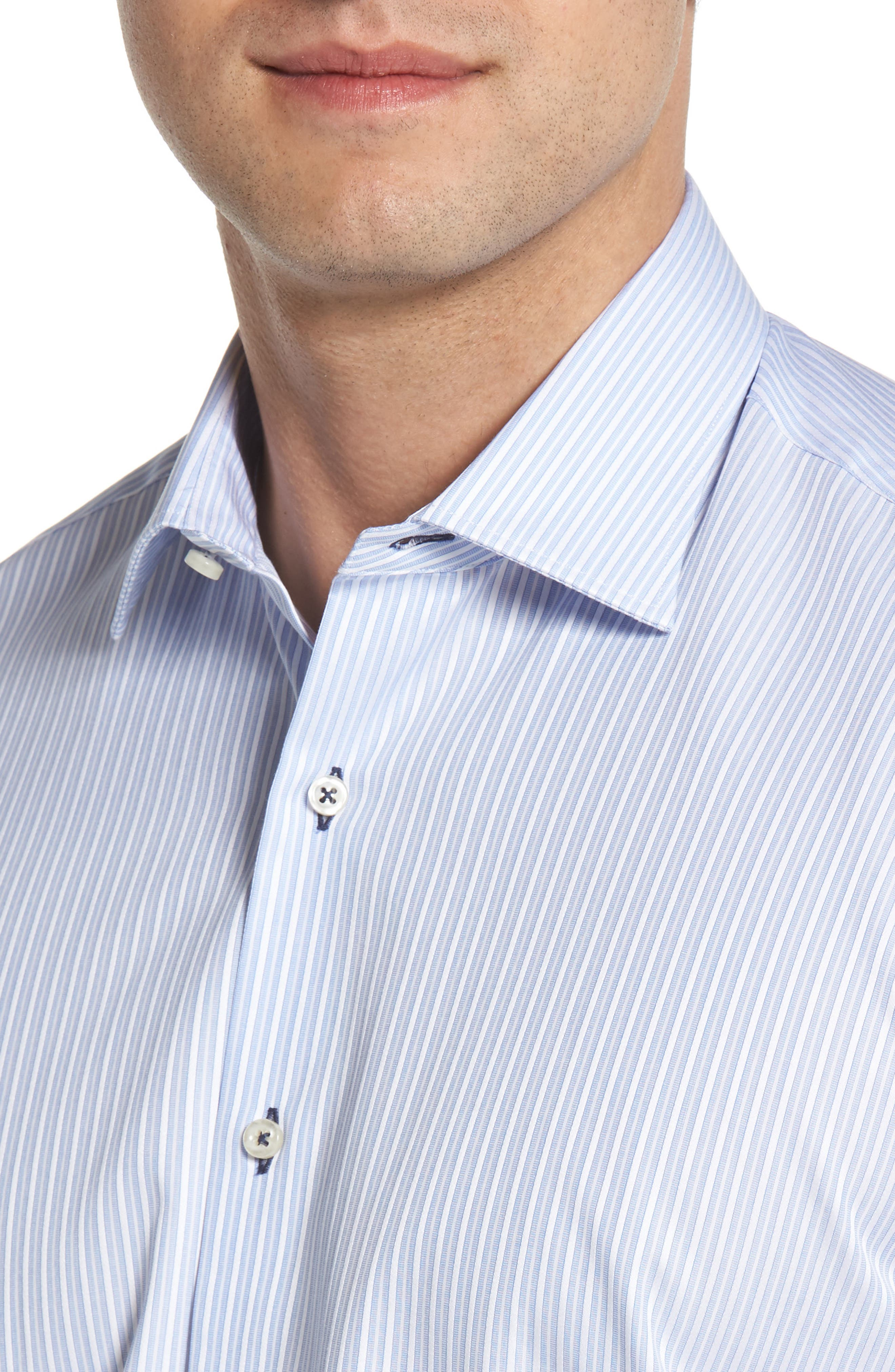 Regular Fit Stripe Dress Shirt,                             Alternate thumbnail 2, color,                             LIGHT BLUE