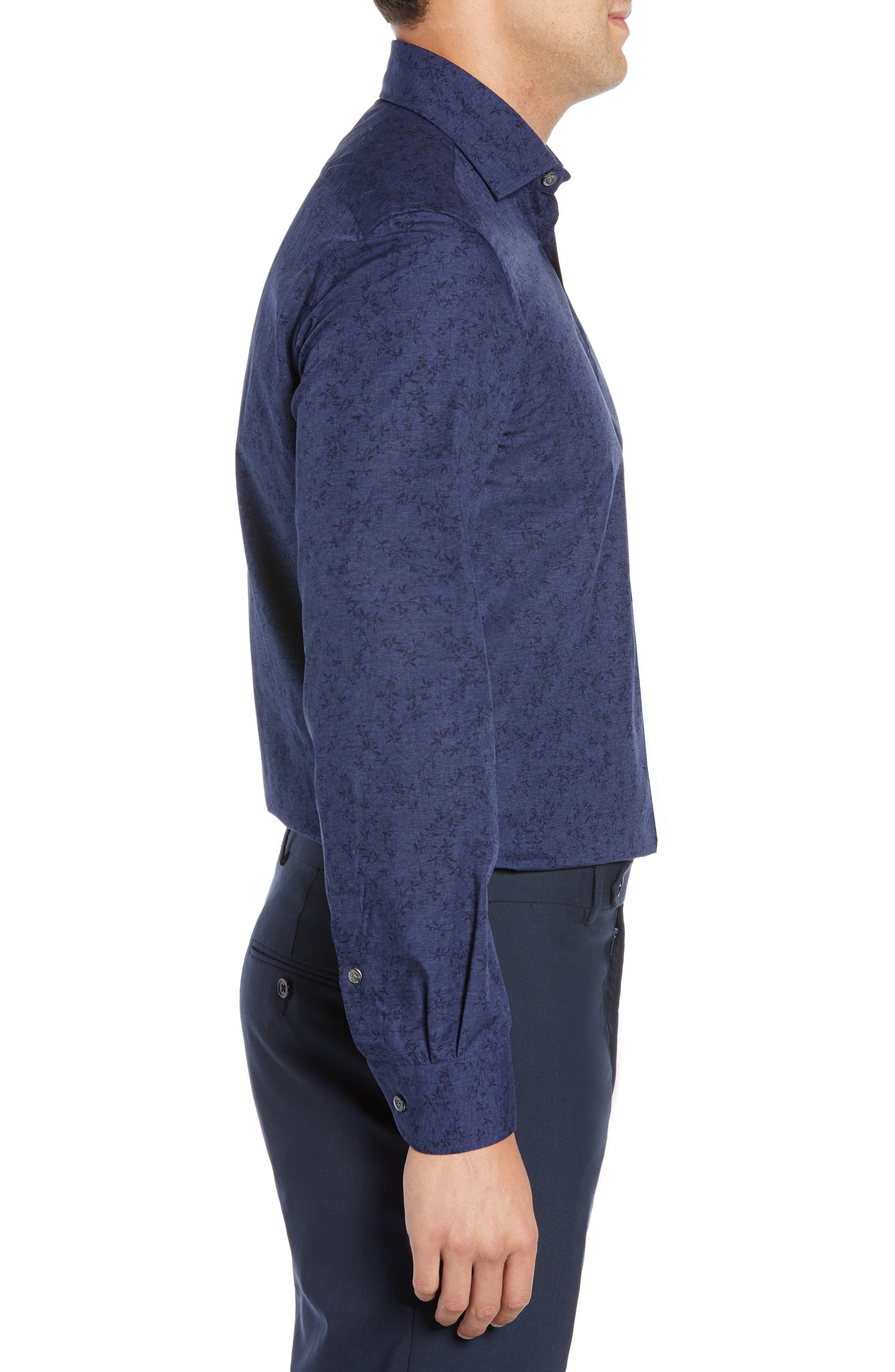 Slim Fit Print Dress Shirt,                             Alternate thumbnail 4, color,                             NAVY