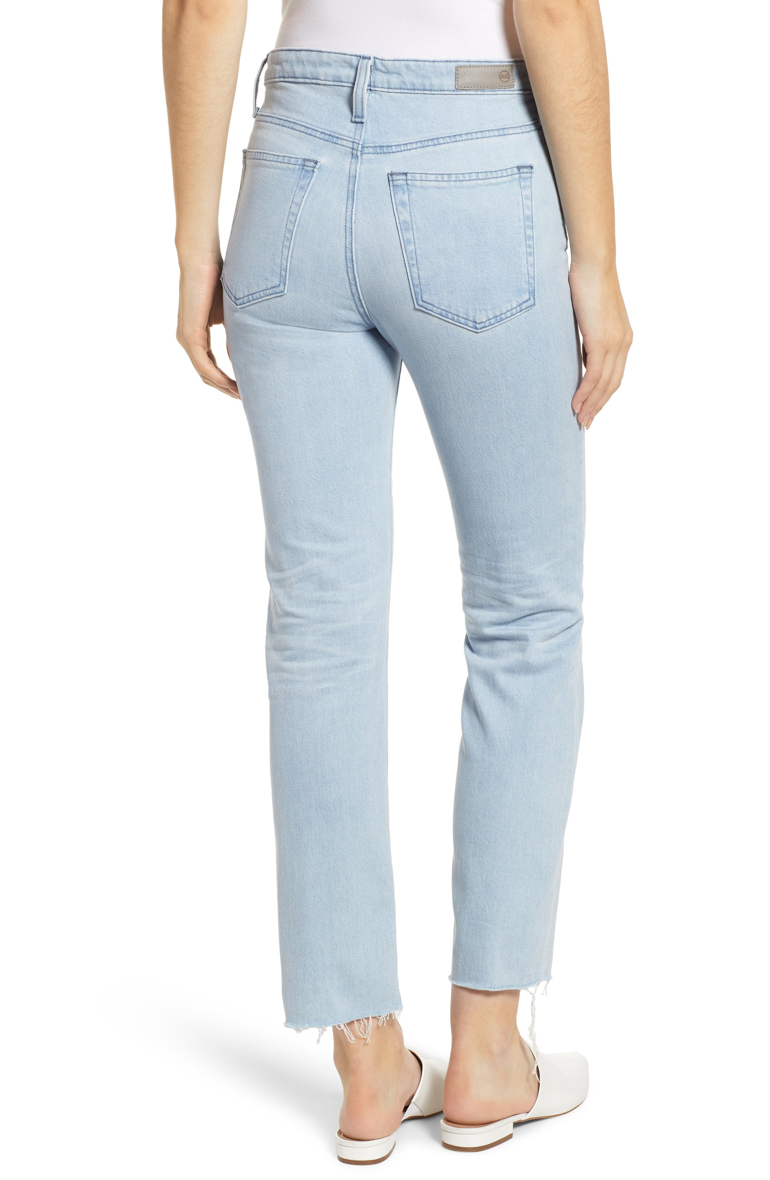 AG,                             The Isabelle High Waist Crop Straight Leg Jeans,                             Alternate thumbnail 2, color,                             26 YEARS SANGUINE