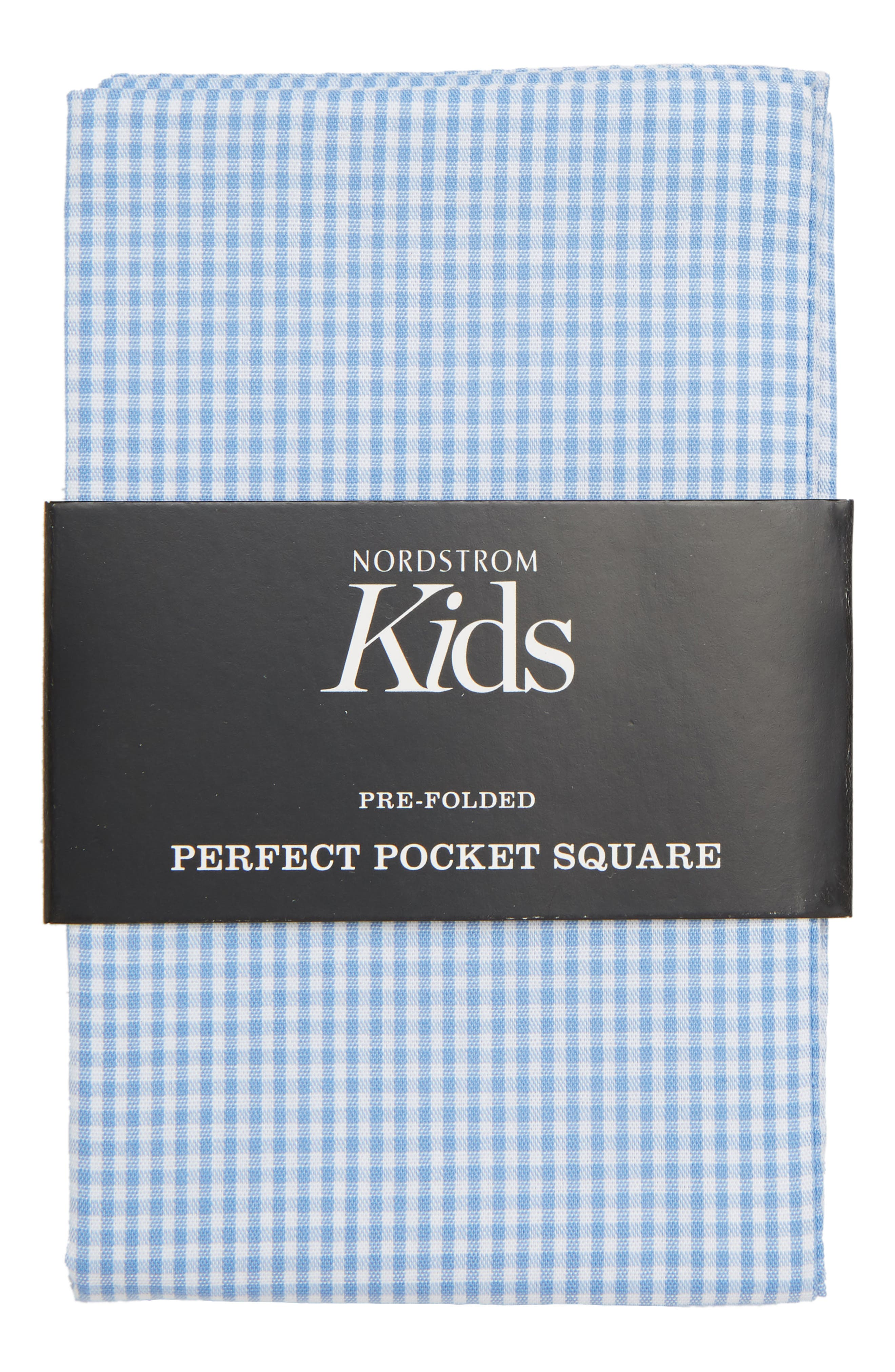 The Perfect Prefolded Gingham Pocket Square,                             Main thumbnail 1, color,                             BABY BLUE