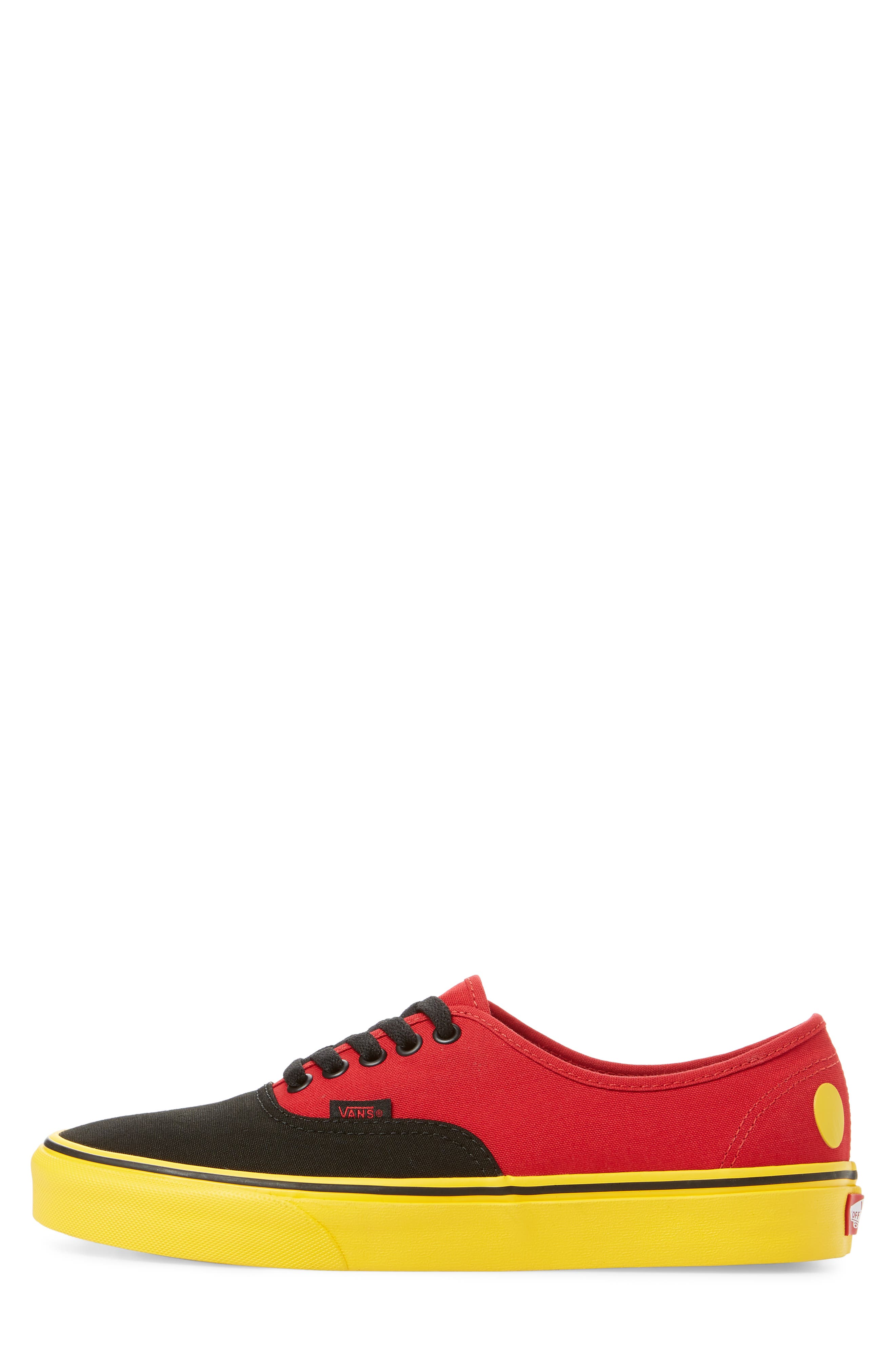 x Disney<sup>®</sup> Authentic Low Top Sneaker,                             Alternate thumbnail 3, color,                             DISNEY MICKEY/ RED/ YELLOW