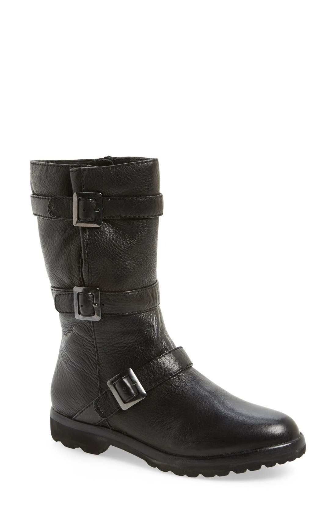 L'Amour Des Pieds 'Racey' Belted Mid Boot,                             Main thumbnail 1, color,                             001