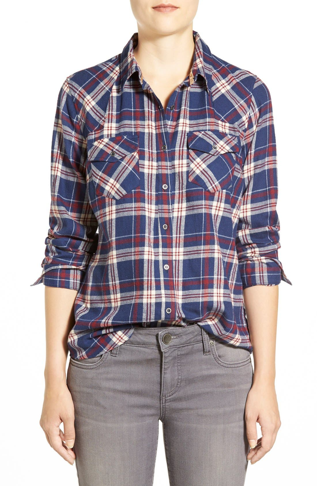 Plaid Cotton Western Shirt,                             Main thumbnail 1, color,                             404