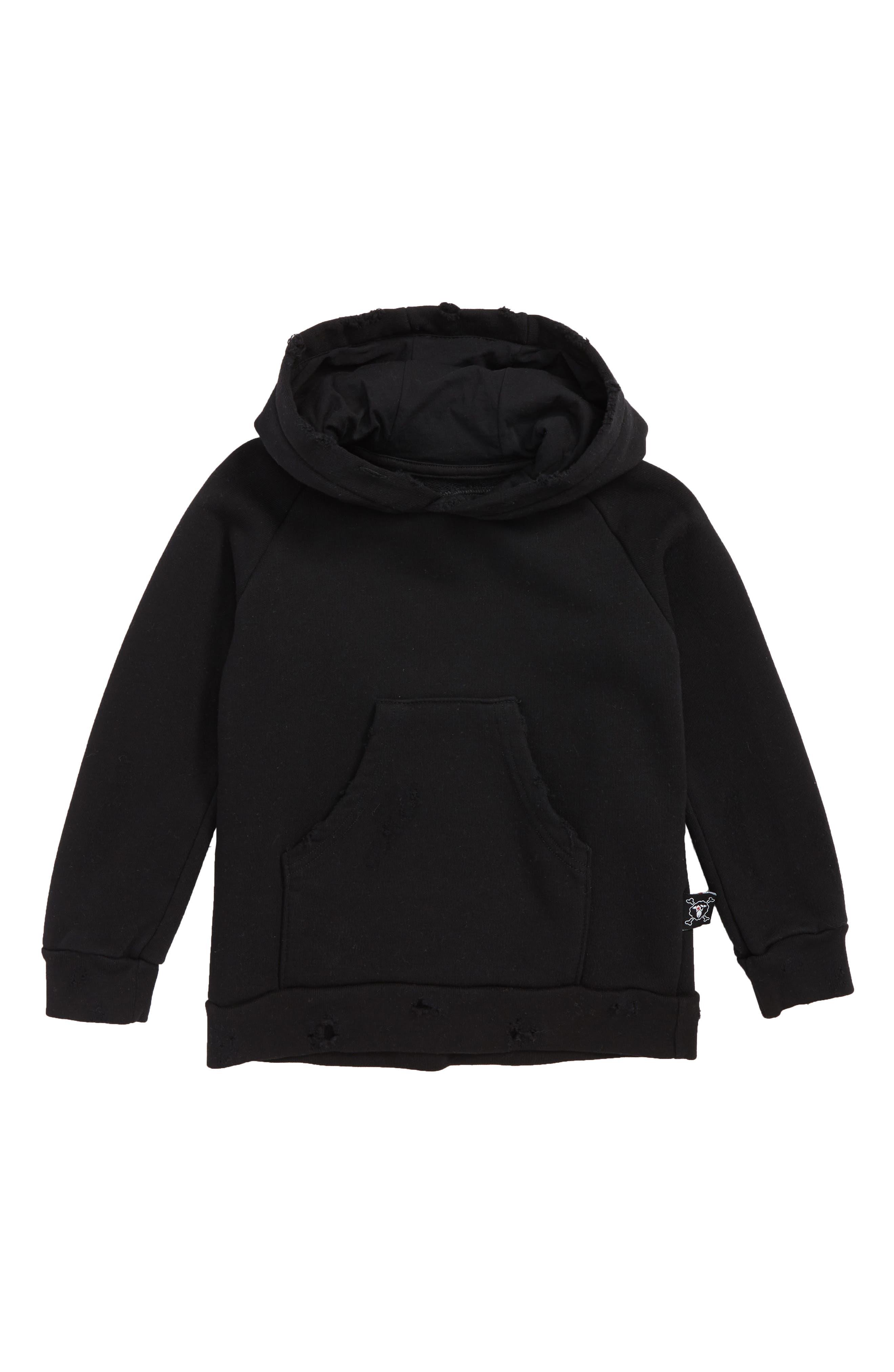 Torn Hoodie,                         Main,                         color, BLACK
