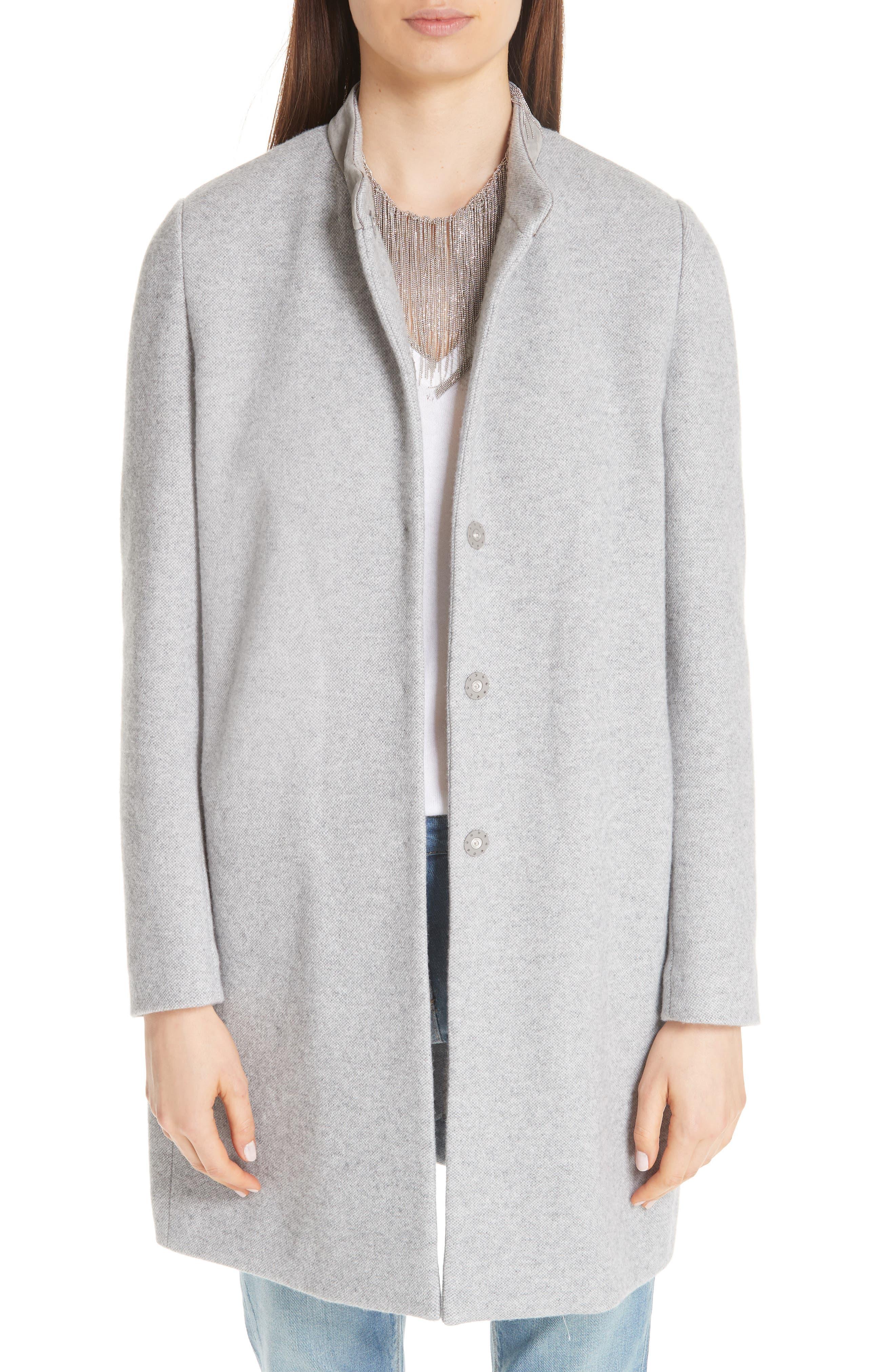 FABIANA FILIPPI Suede Trim Tweed Jacket, Main, color, GREY