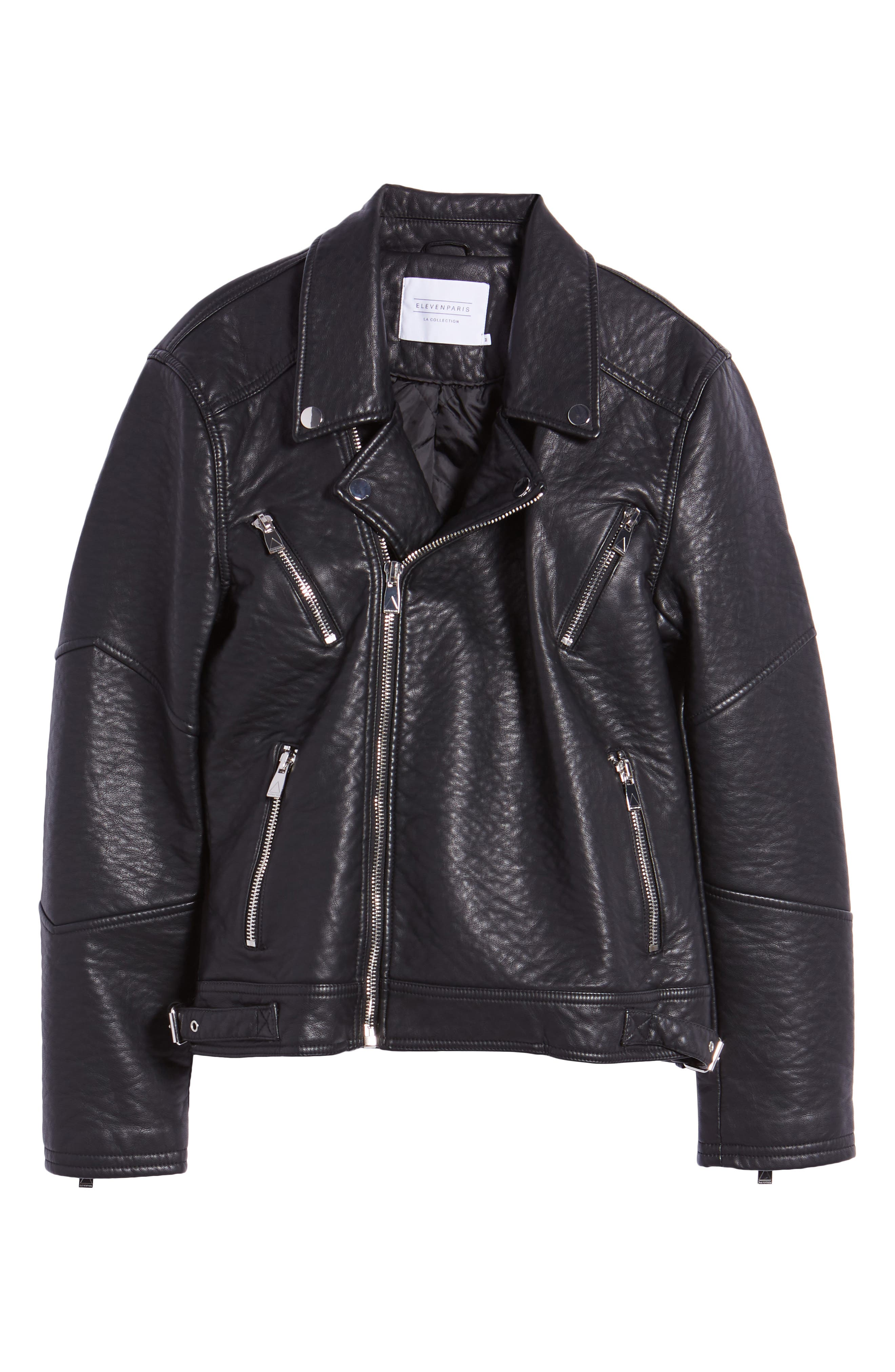 Elmut Faux Leather Biker Jacket,                             Alternate thumbnail 5, color,                             001