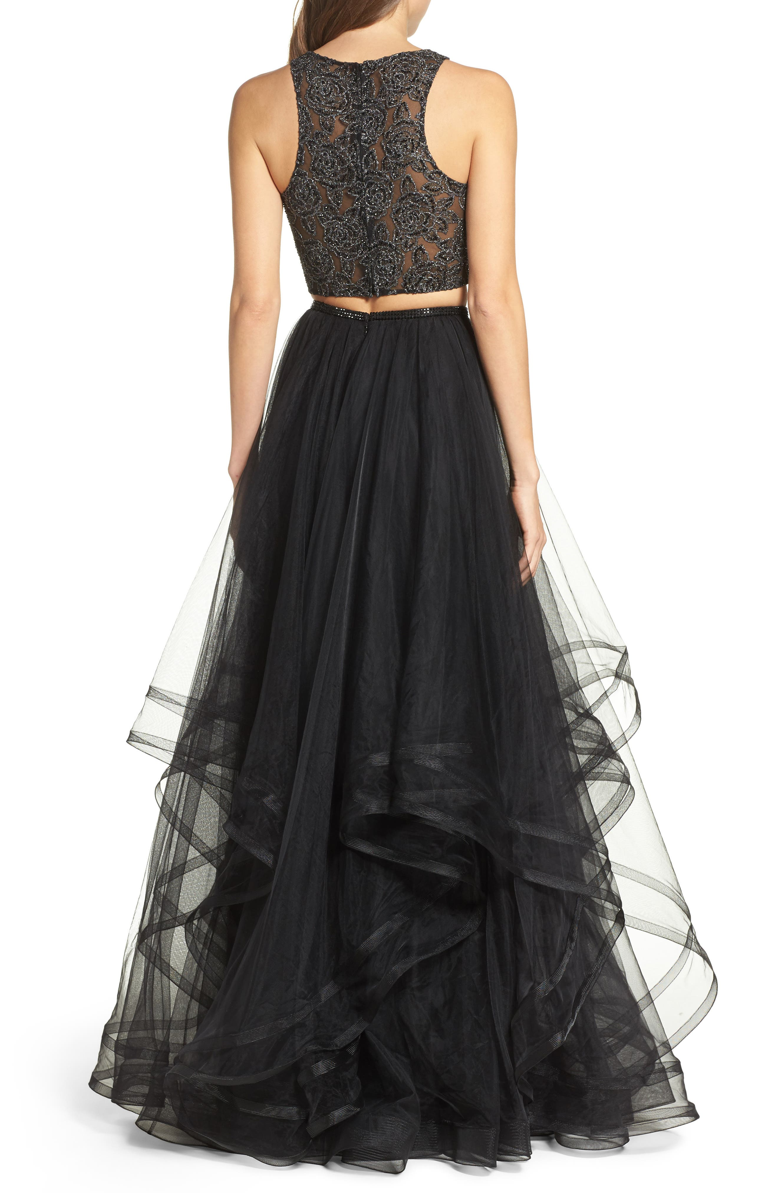 Embellished Lace Two-Piece Gown,                             Alternate thumbnail 3, color,