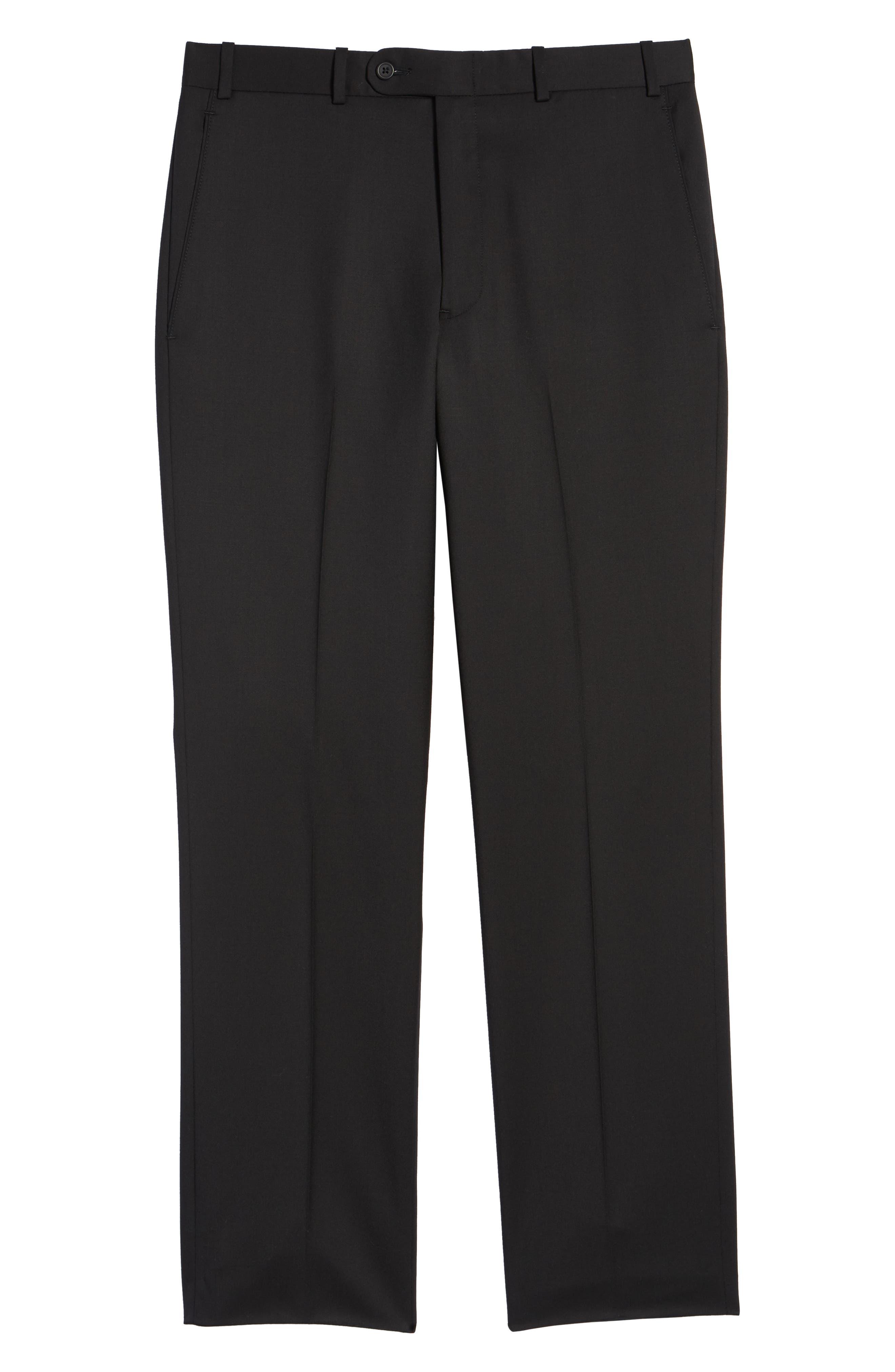 Torino Flat Front Wool Gabardine Trousers,                             Alternate thumbnail 6, color,                             001