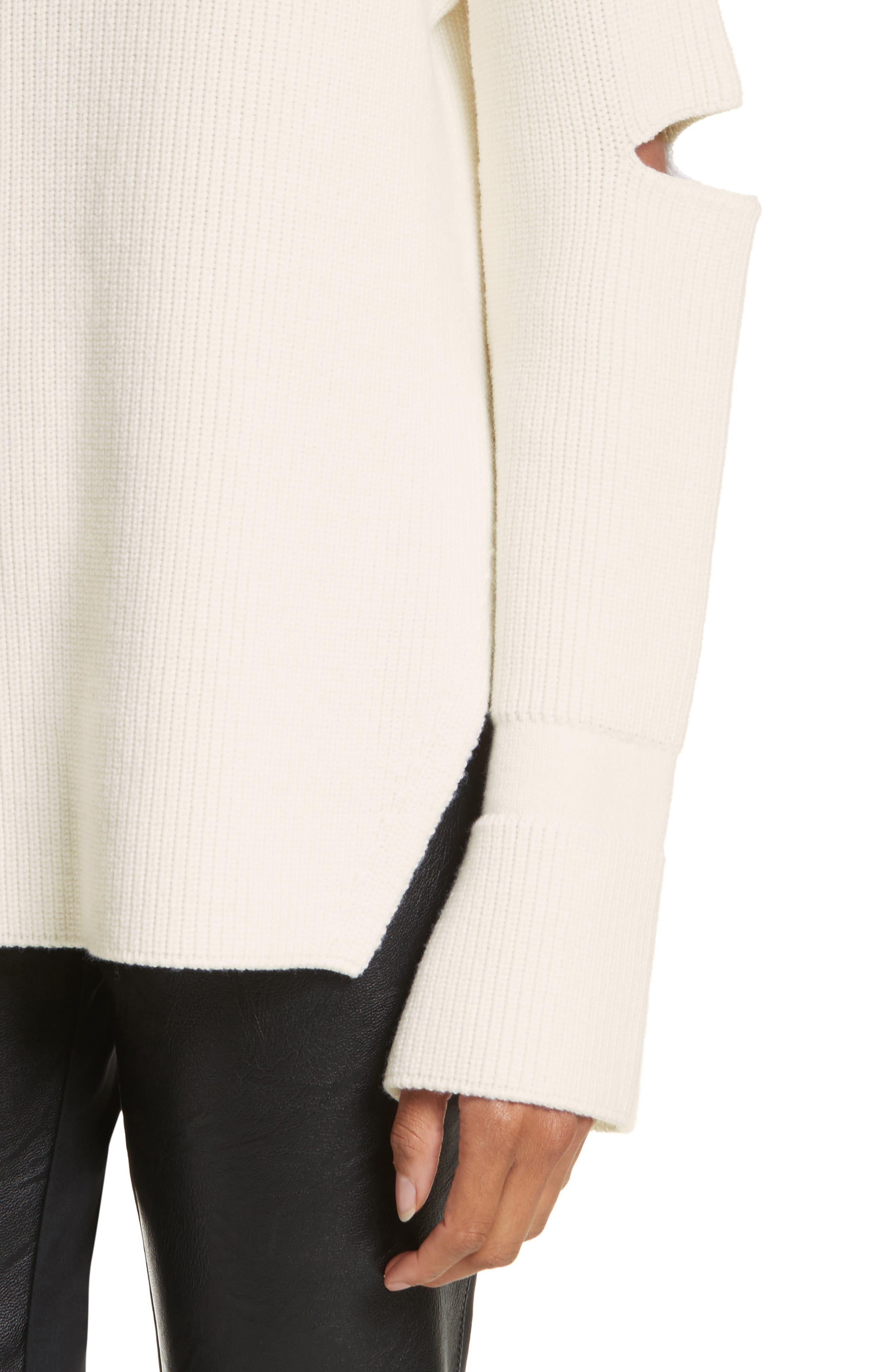 Slit Back Virgin Wool Blend Sweater,                             Alternate thumbnail 4, color,                             108