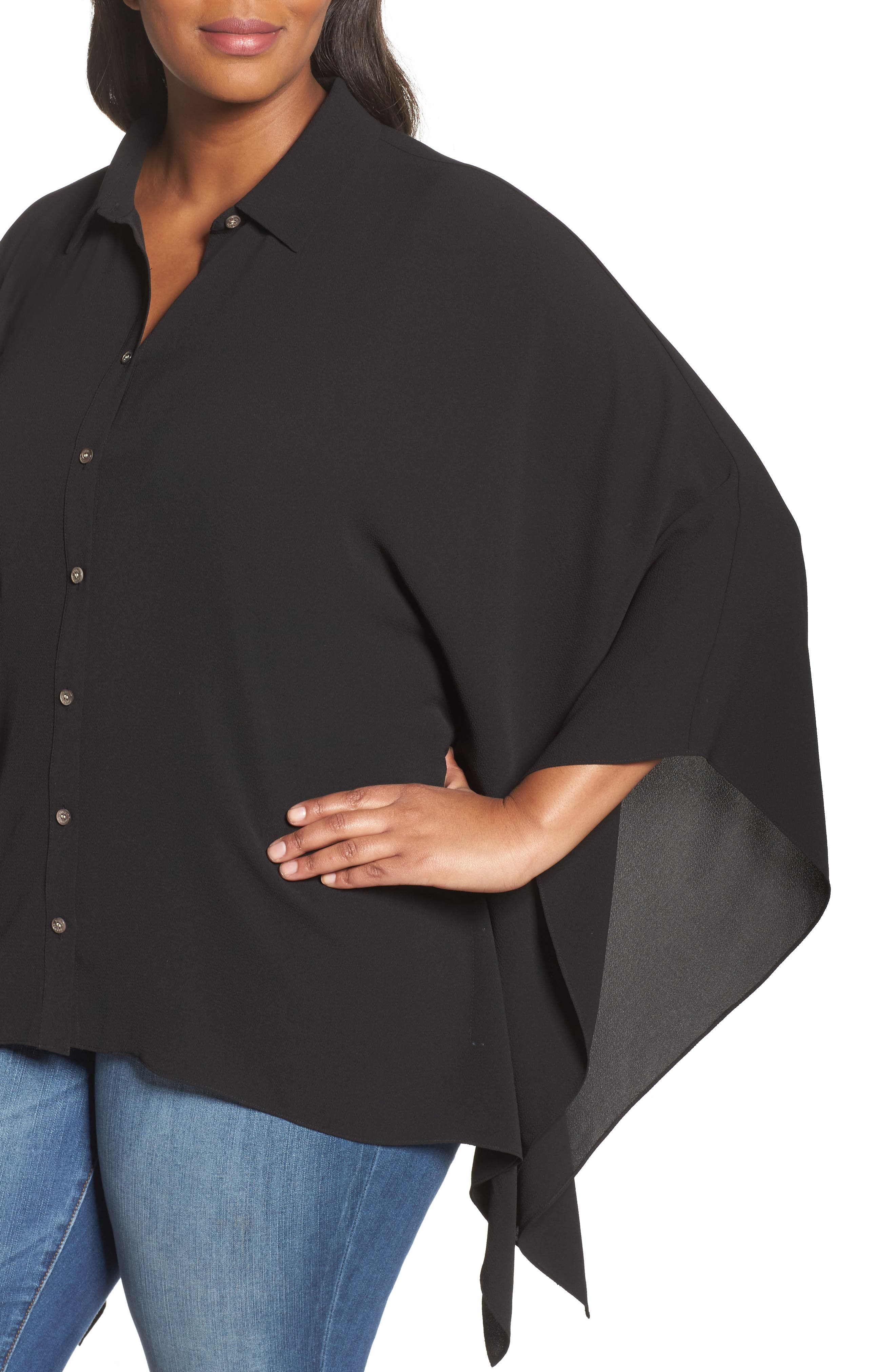 Button Down Collared Poncho Top,                             Alternate thumbnail 4, color,                             006